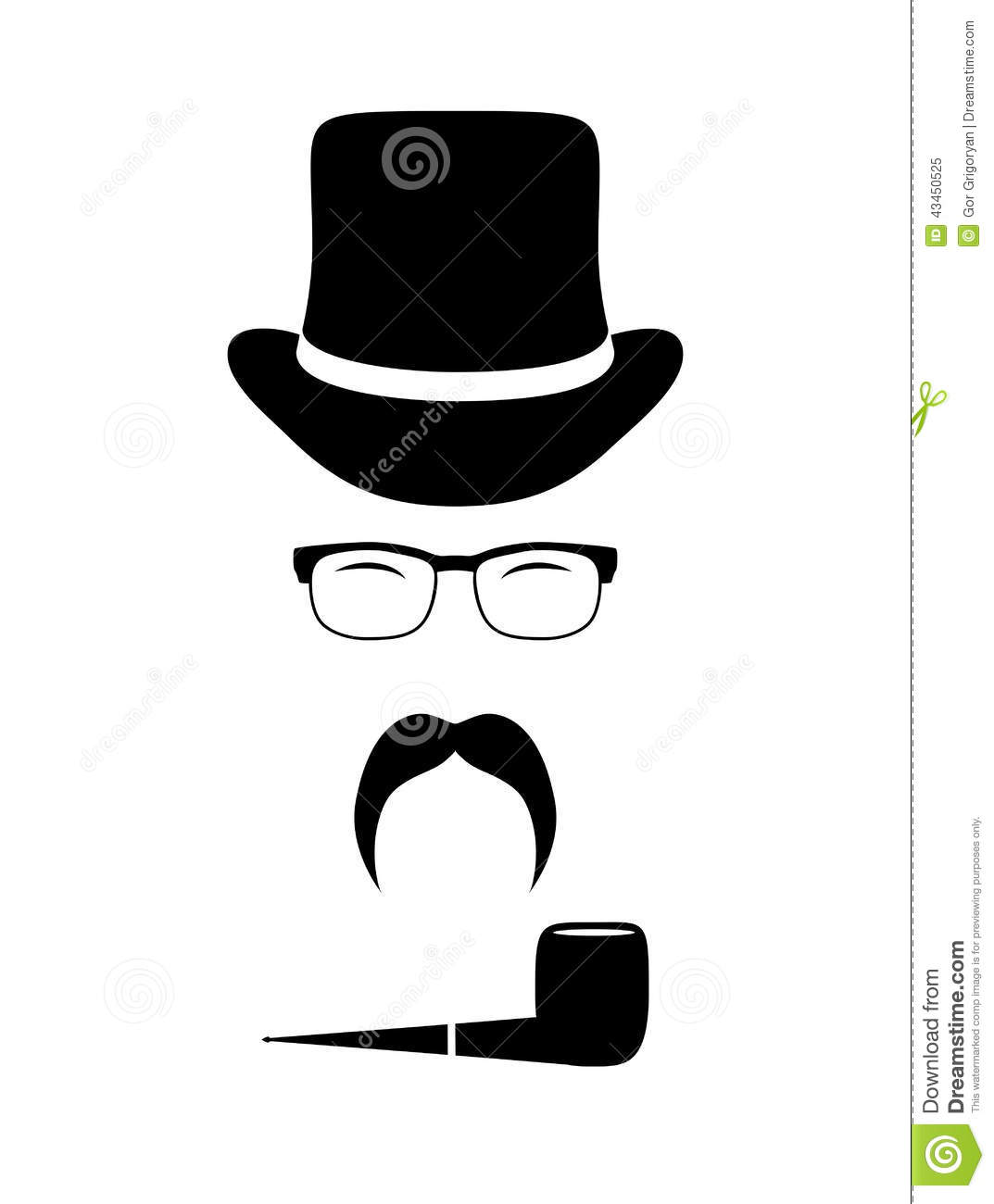 gentleman attributes hats eyeglasses mustache stock vector image 43450525. Black Bedroom Furniture Sets. Home Design Ideas