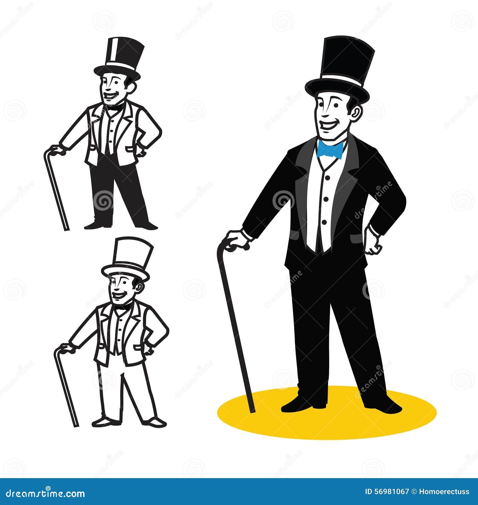 Gentleman cartoon stock vector image 56981067 for Illustration minimaliste