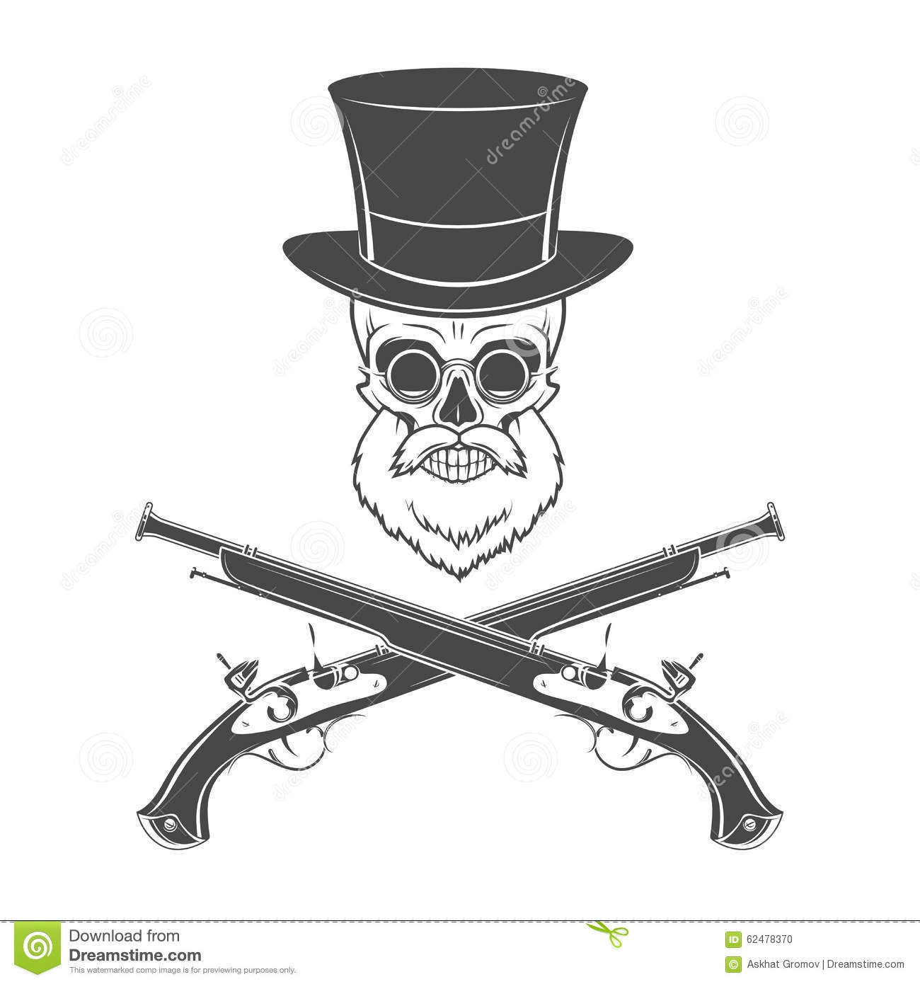 Gentleman of fortune skeleton with beard glasses stock for Top gun hat template
