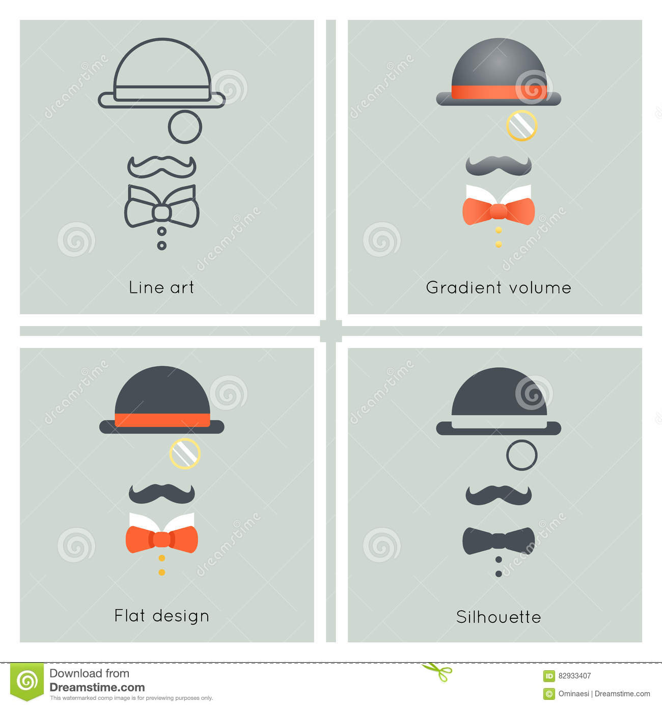 Gentleman Mask Disguise Victorian Hat Mustache Bow Monocle Businessman Retro Vintage Hipster Icon Great Britain Flat