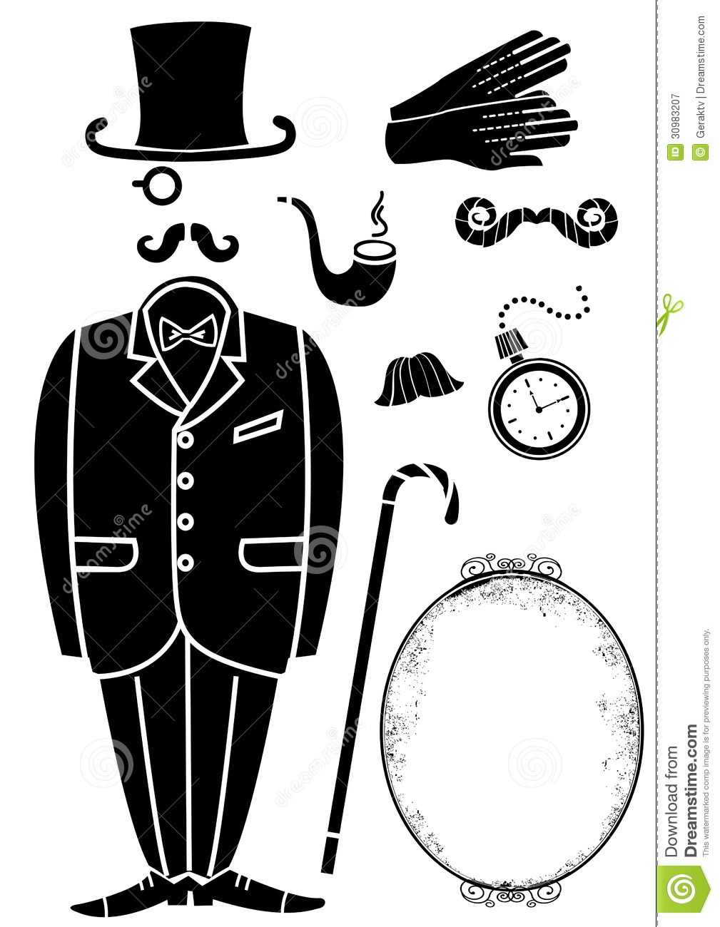 gentleman retro suit and accessories vector symbol stock vector image 30983207. Black Bedroom Furniture Sets. Home Design Ideas