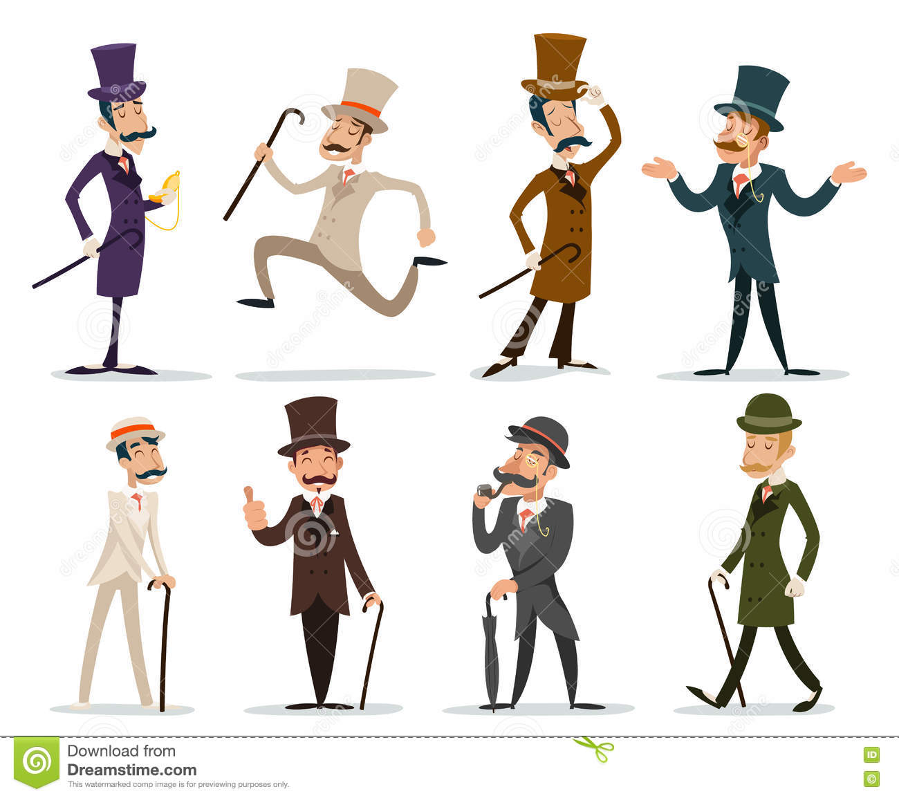 Character Design Illustration : Gentleman victorian business cartoon character icon set
