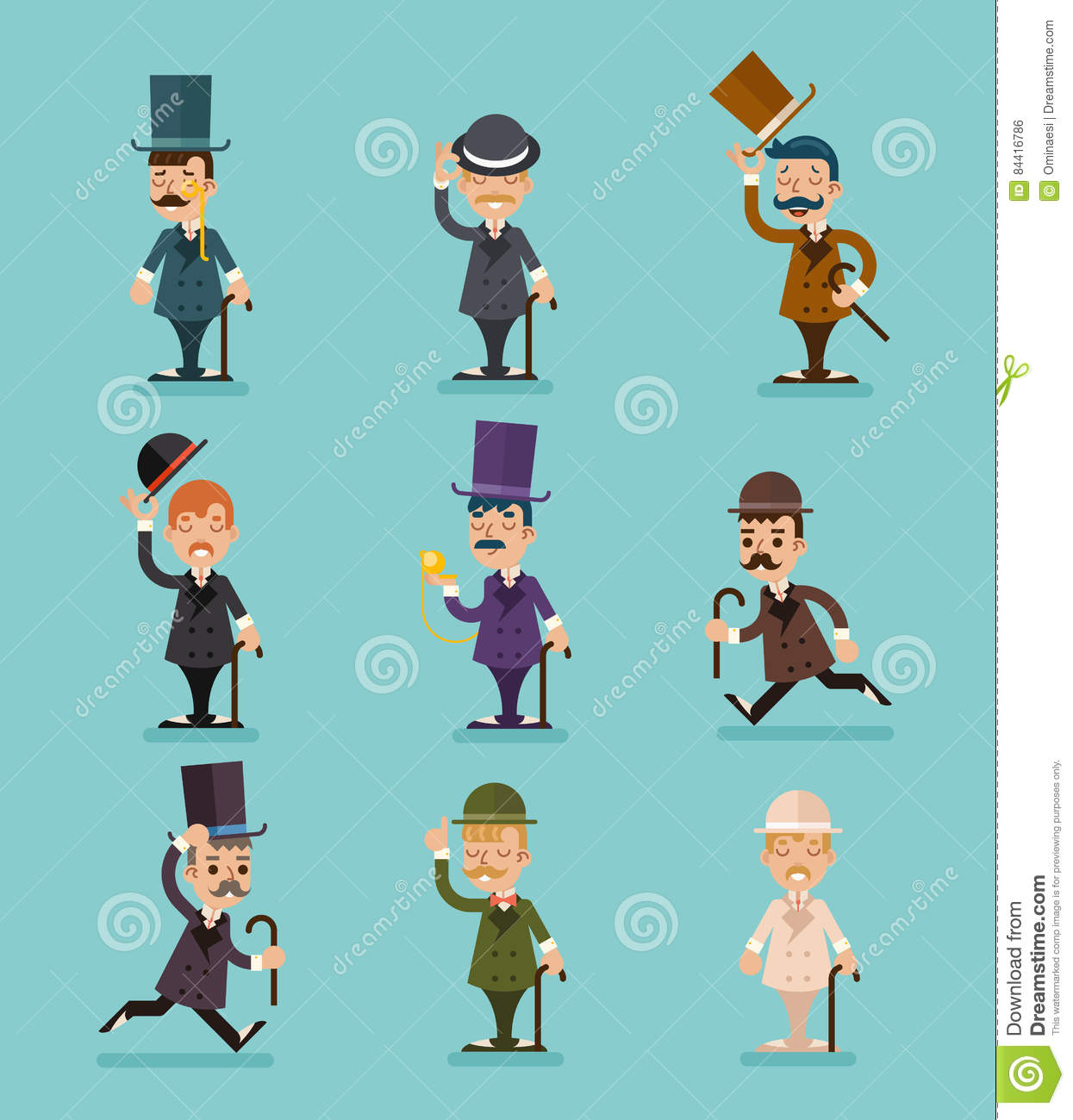 Character Design Job Requirements : Set of business characters vector in flat design
