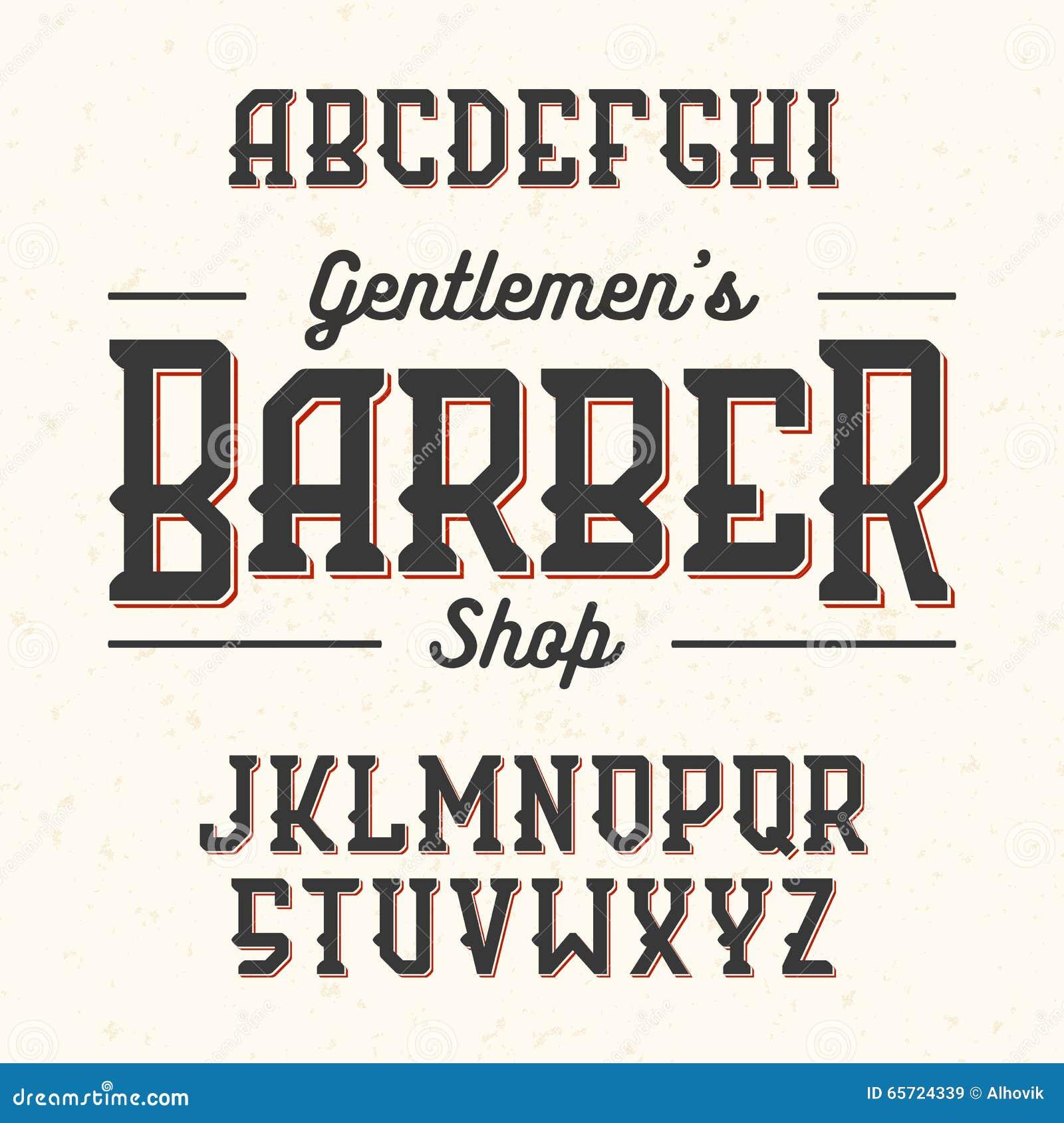 Barber Font : Gentlemans Barber Shop Vintage Style Font Stock Vector - Image ...