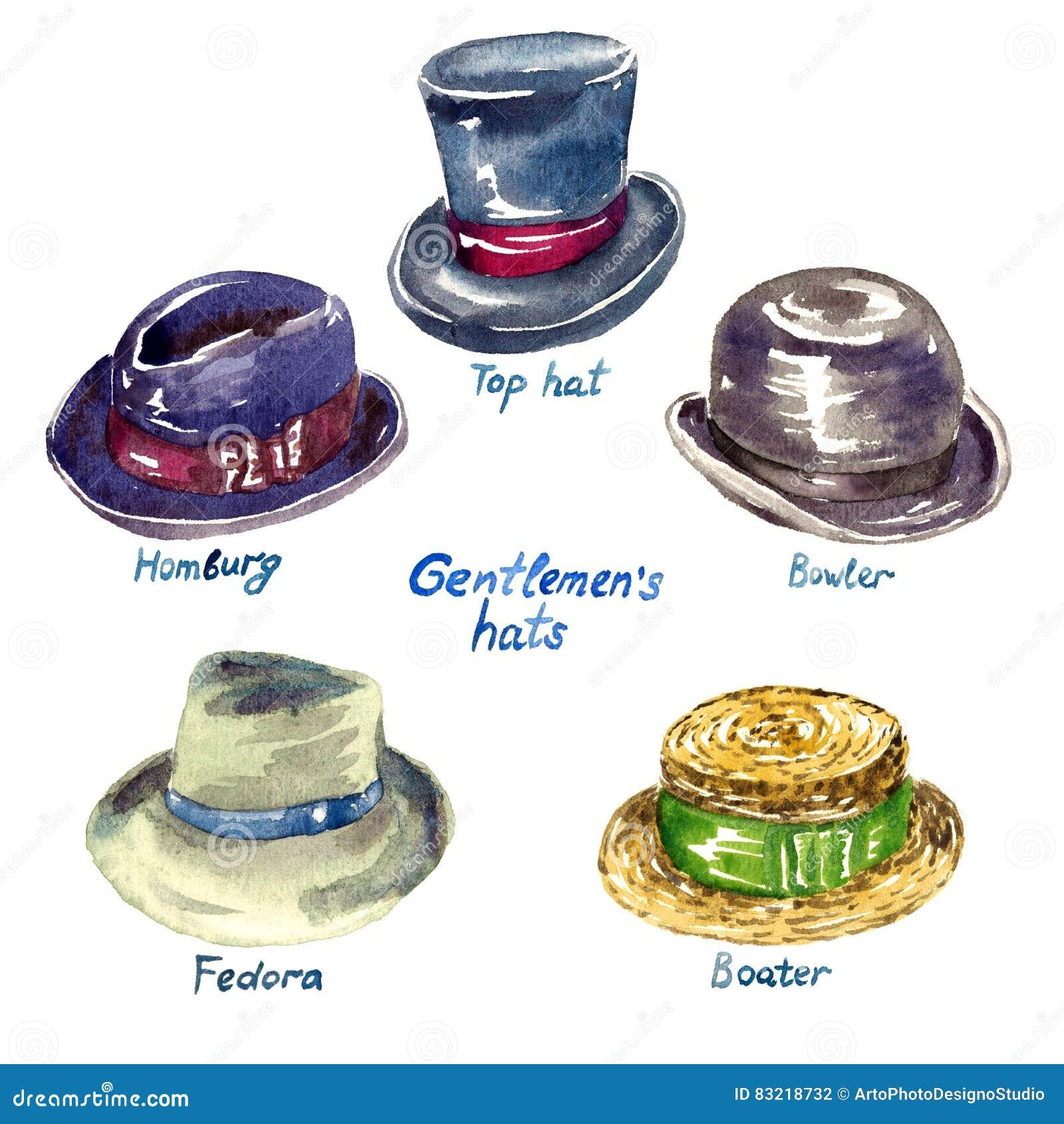 b087d716247a9 Gentlemen`s hats types stock illustration. Illustration of gentlemen ...