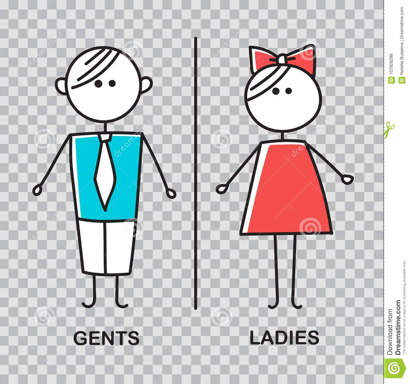 Gents And Ladies WC Sign For Restroom. WC Icon. Stock Vector