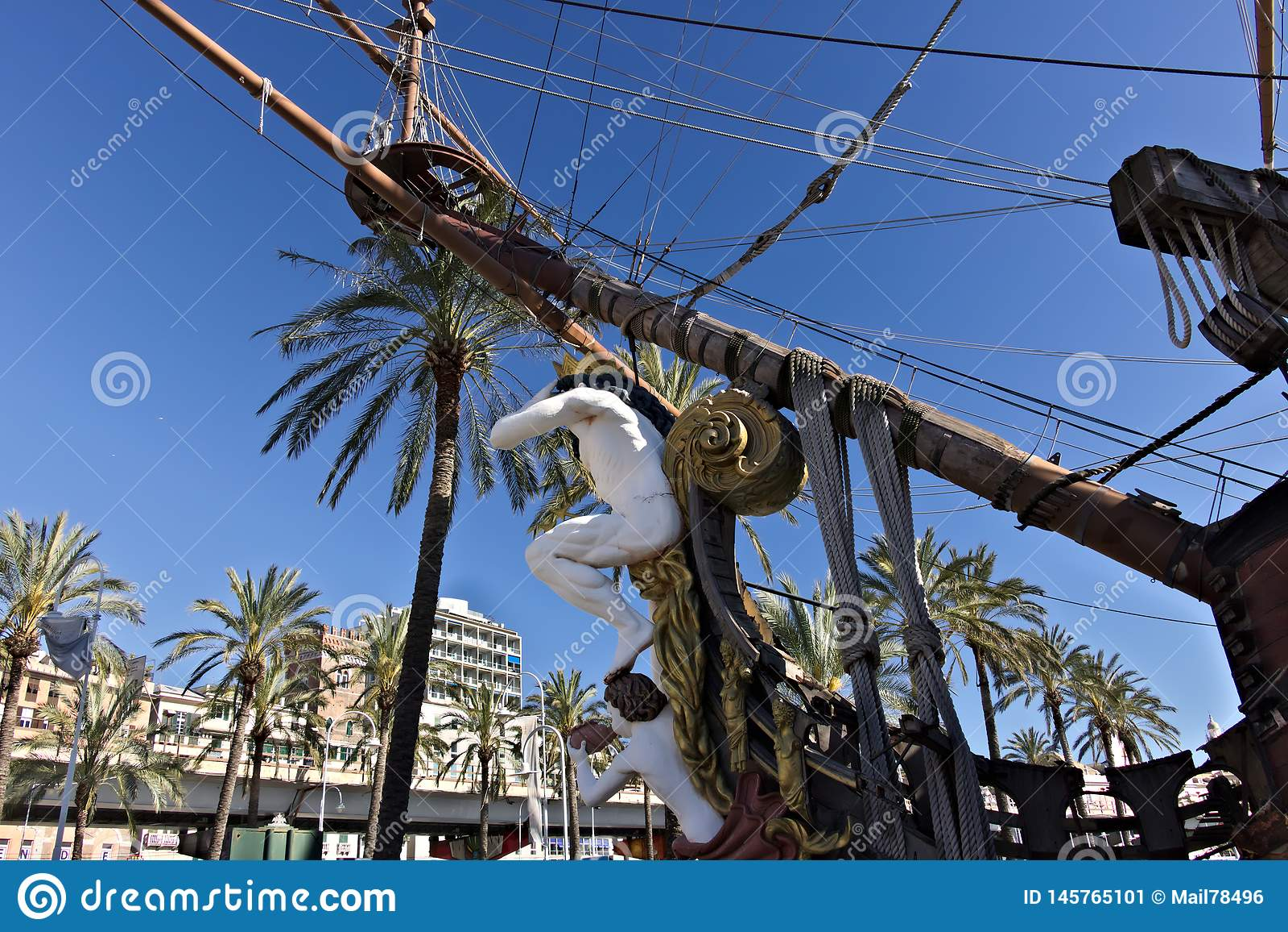 Genua Neptun-Galeone verankert im Hafen