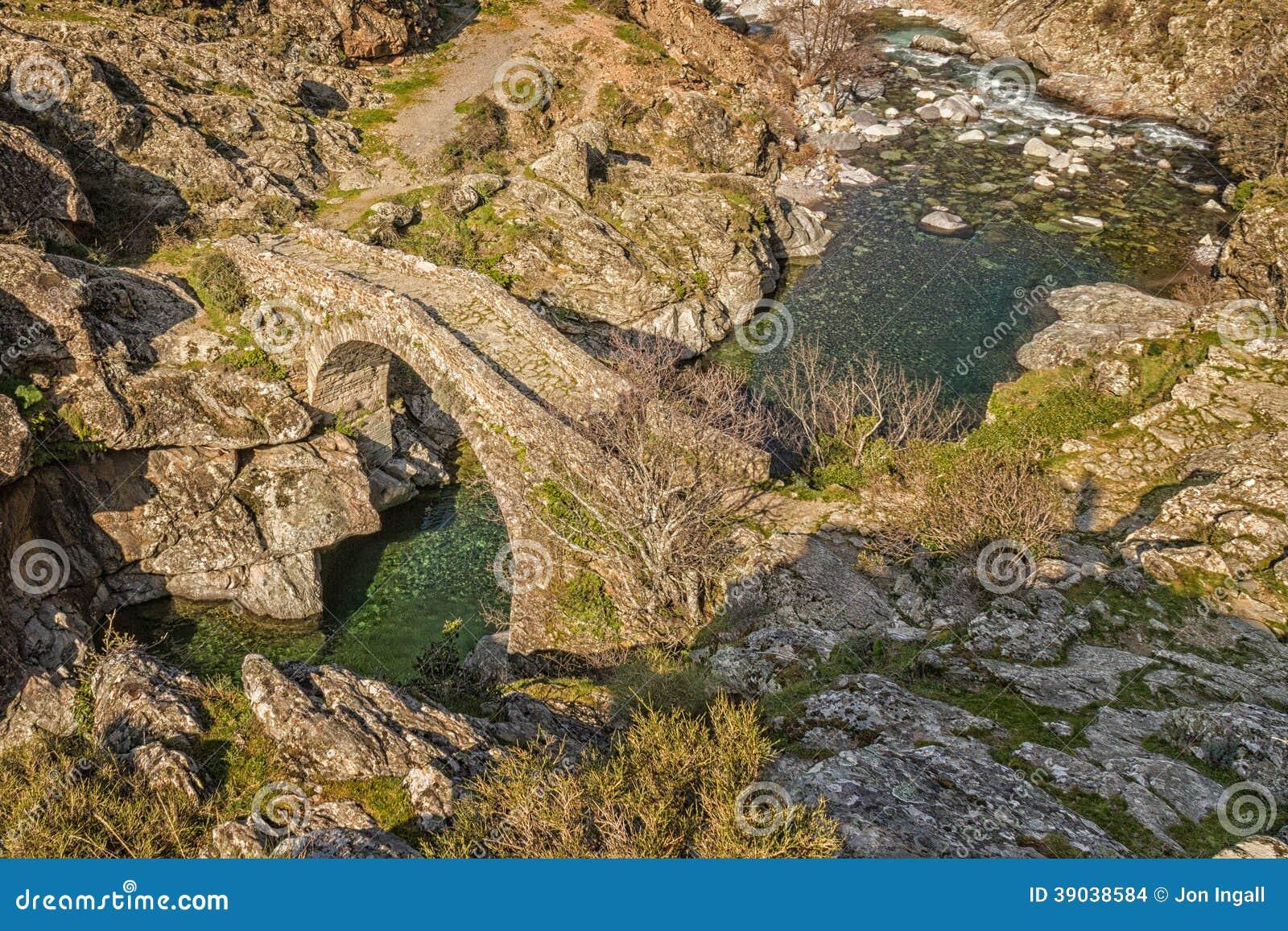 Genueńczyka most przy Asco w Corsica