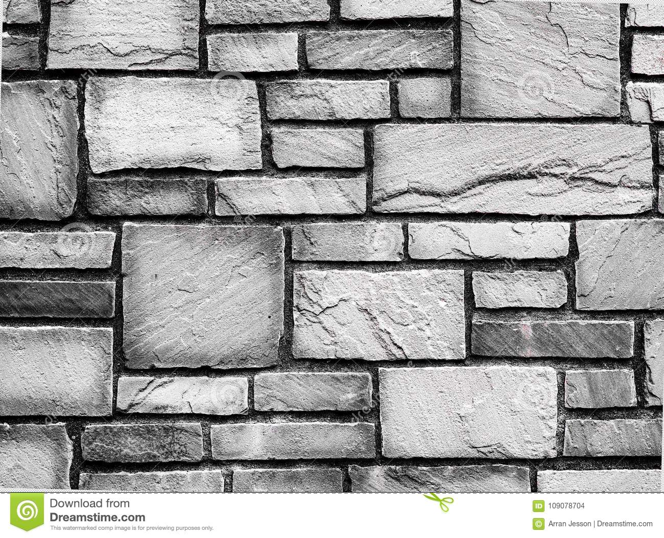 Black And White, Old Rough Textured Paved Brick Wall