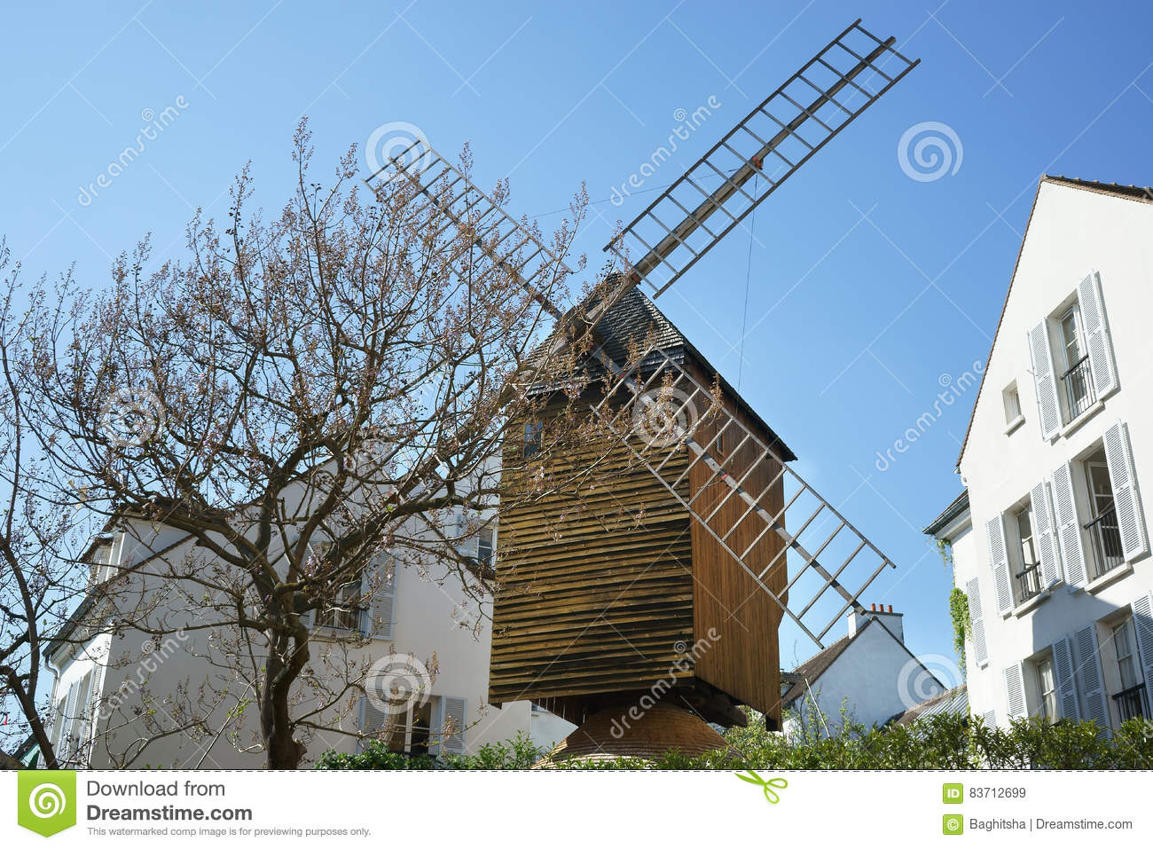 Genuine Windmill In Paris Montmartre Editorial Stock Image