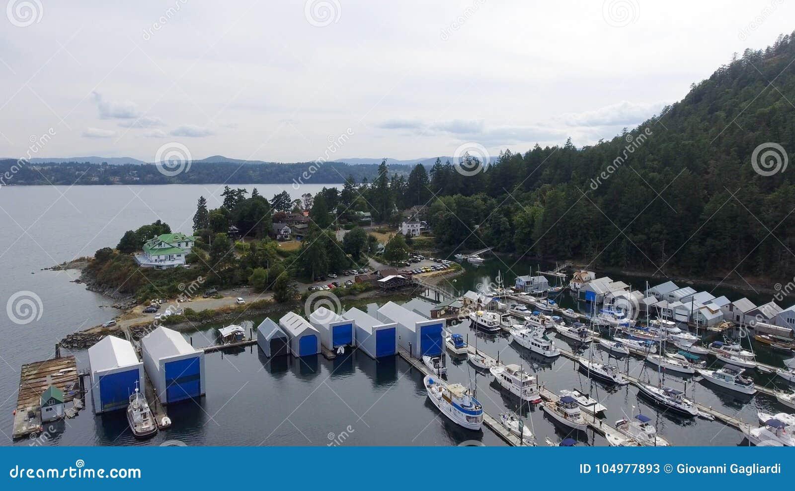 Genuy Podpalany widok z lotu ptaka w Vancouver wyspie