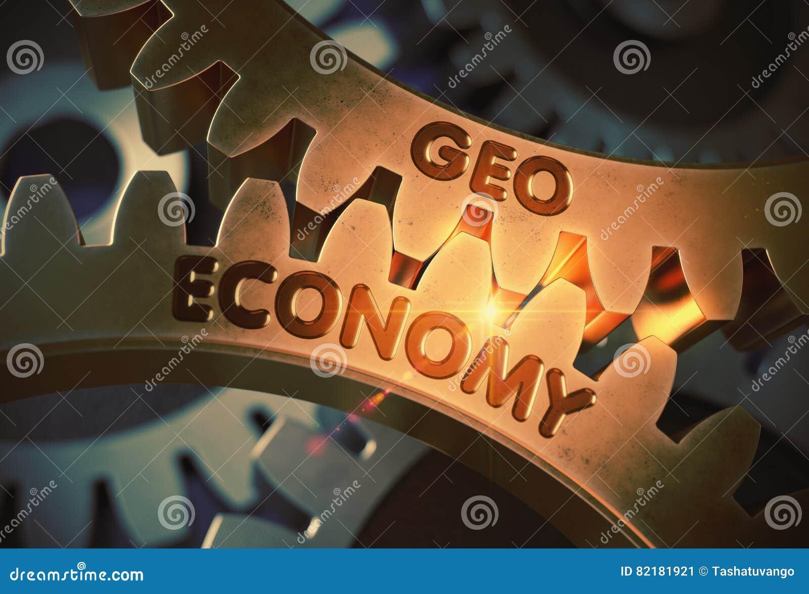 Geo-Economie op de Gouden Metaaltoestellen 3D Illustratie