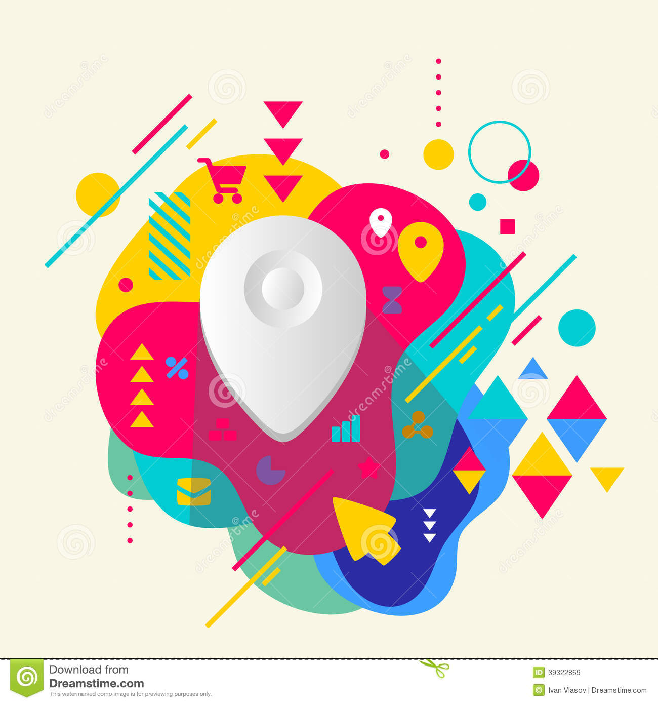 Geo location on abstract colorful spotted background with for Location design
