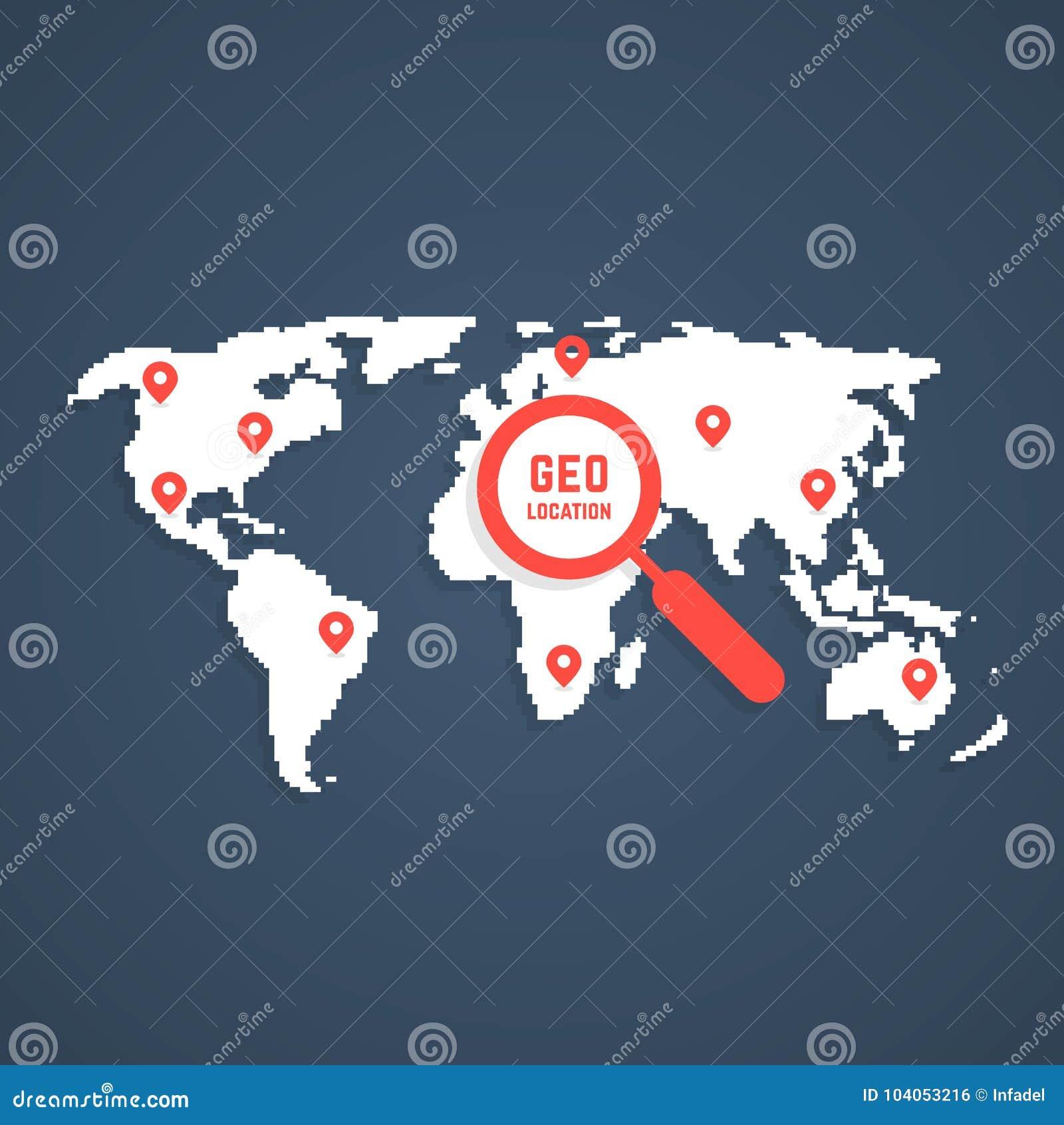 Geo Location With Pixel Art World Map Stock Vector Illustration Of Navigation Geolocator 104053216