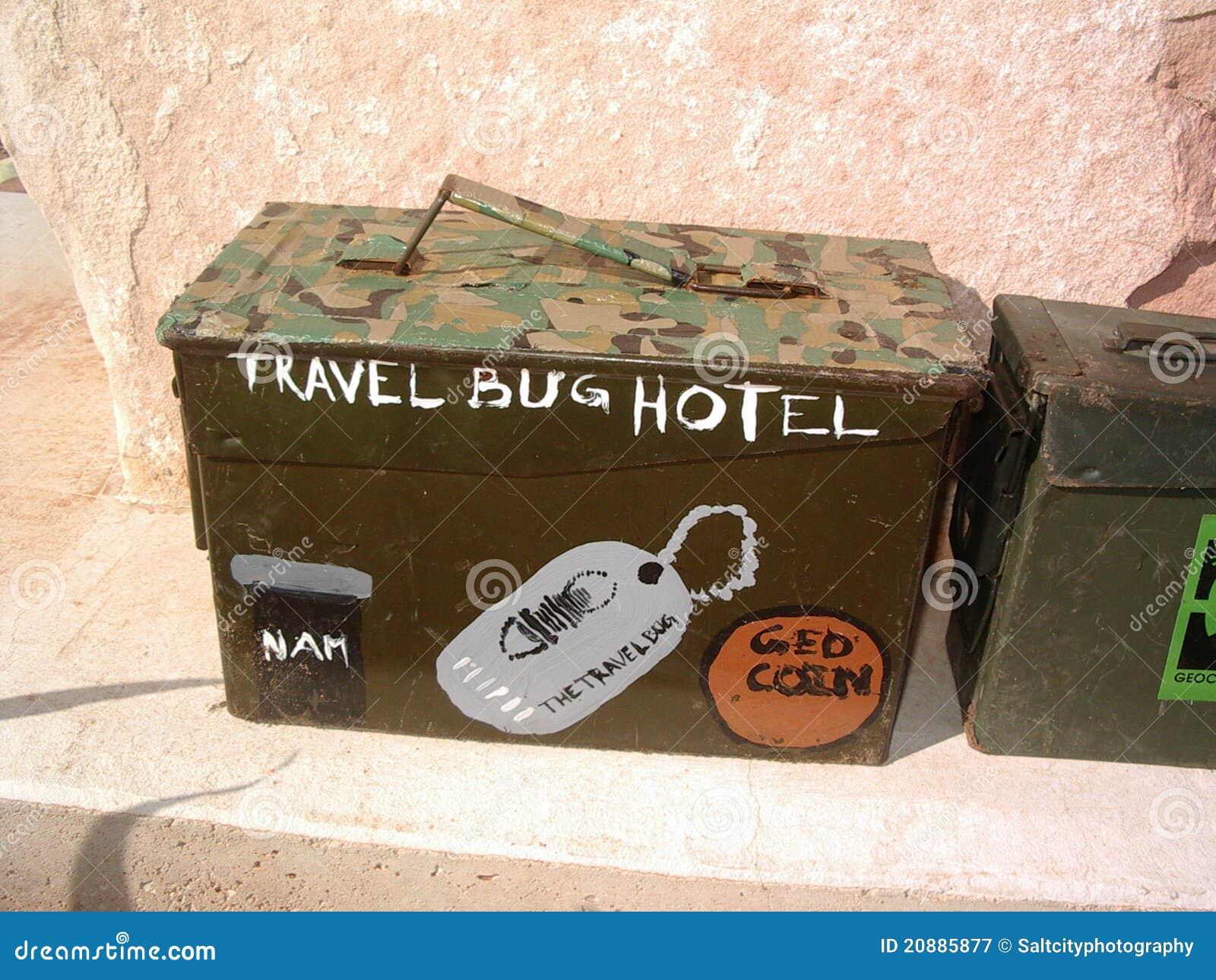 Geocache Travel Bug Hotel stock image  Image of hide - 20885877