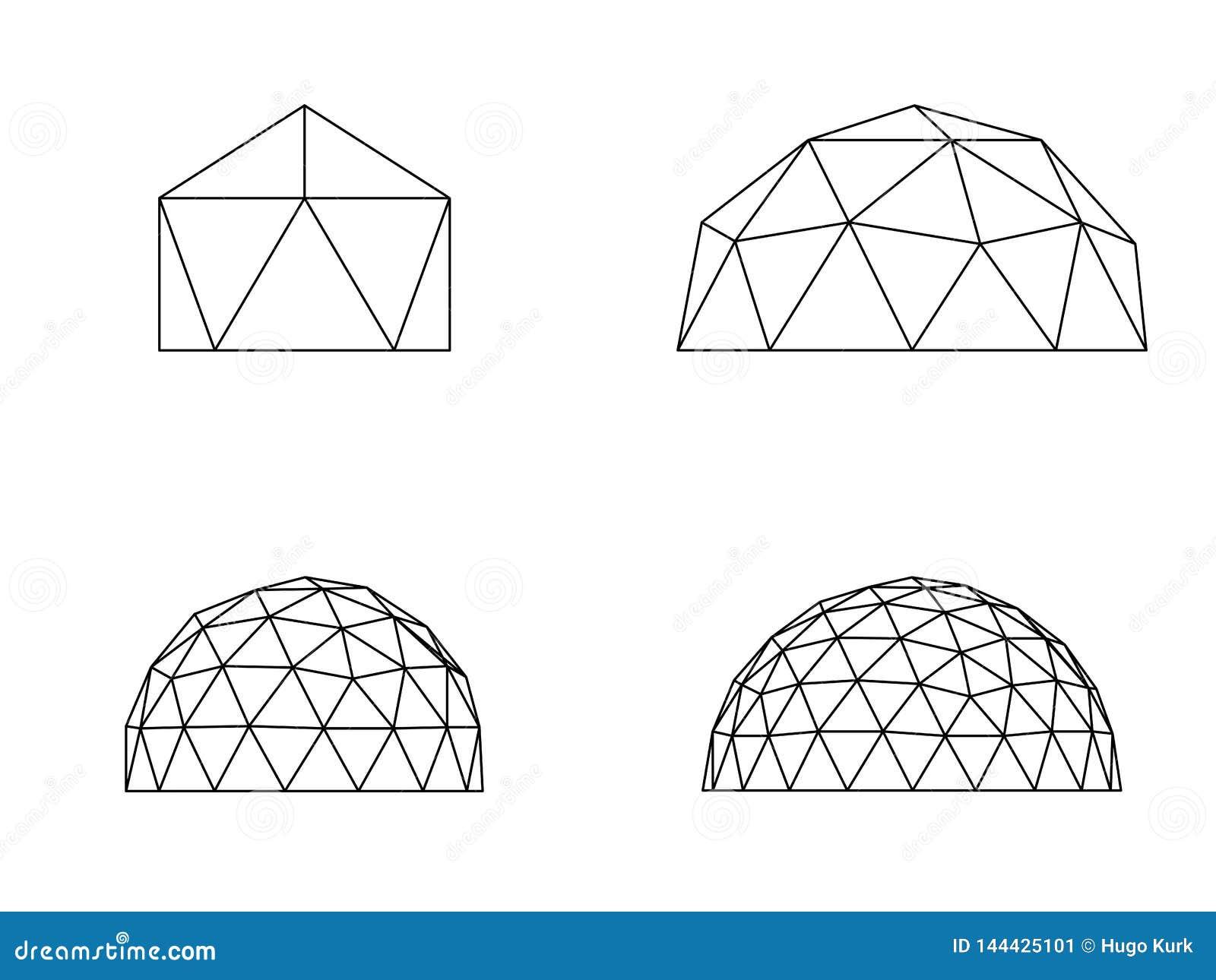 Geodesic kopuł wektoru ilustracja