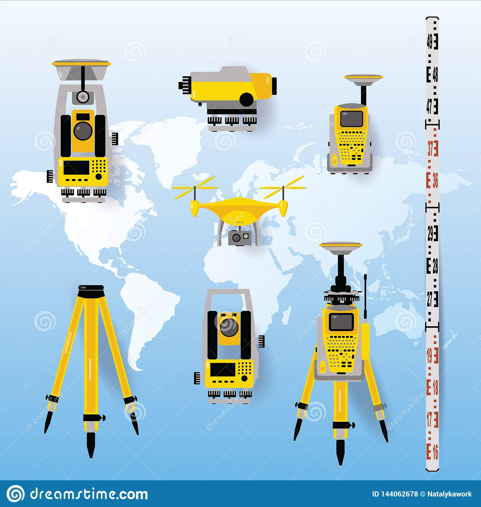 Geodesy Measuring Equipment Icon Set, Engineering Technology