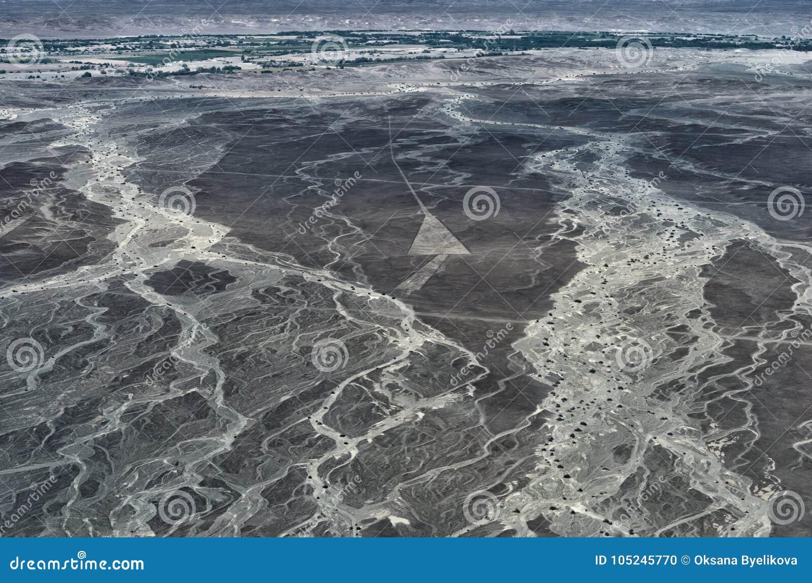 Geoglyphs e linhas no deserto de Nazca peru