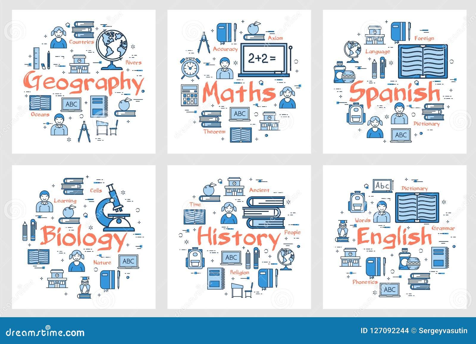 Geografía, historia, matemáticas, idiomas y biología