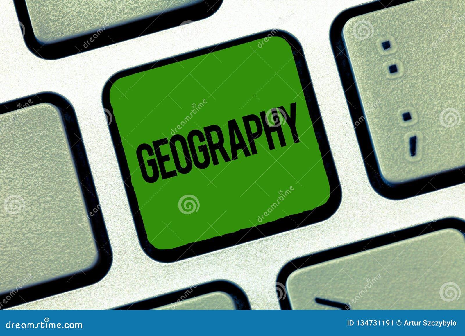 Geografi för textteckenvisning Begreppsmässig fotostudie av fysiska särdrag av jord och dess atmosfärnatur