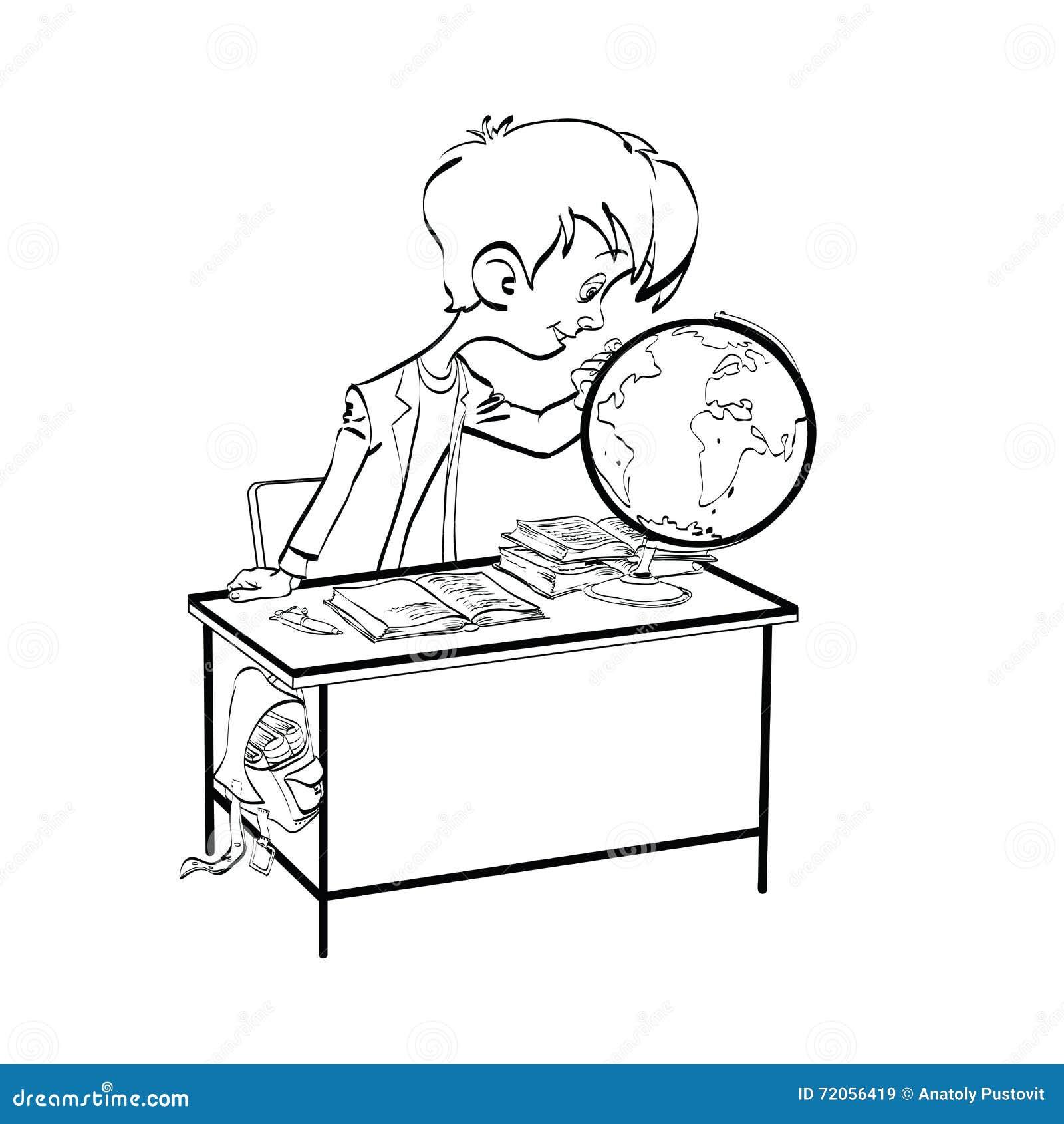 Geografia Ragazzo Dello Studente Che Guarda Globo Illustrazione