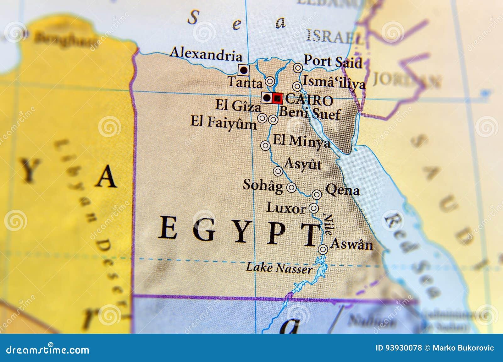 Geograficzna Mapa Egipt Z Znaczaco Miastami Zdjecie Stock Obraz