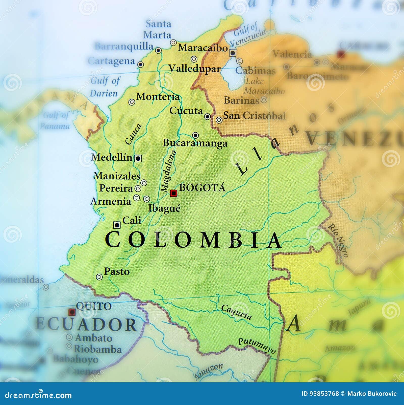 Geografische Kaart Van De Landen Van Colombia Met Belangrijke