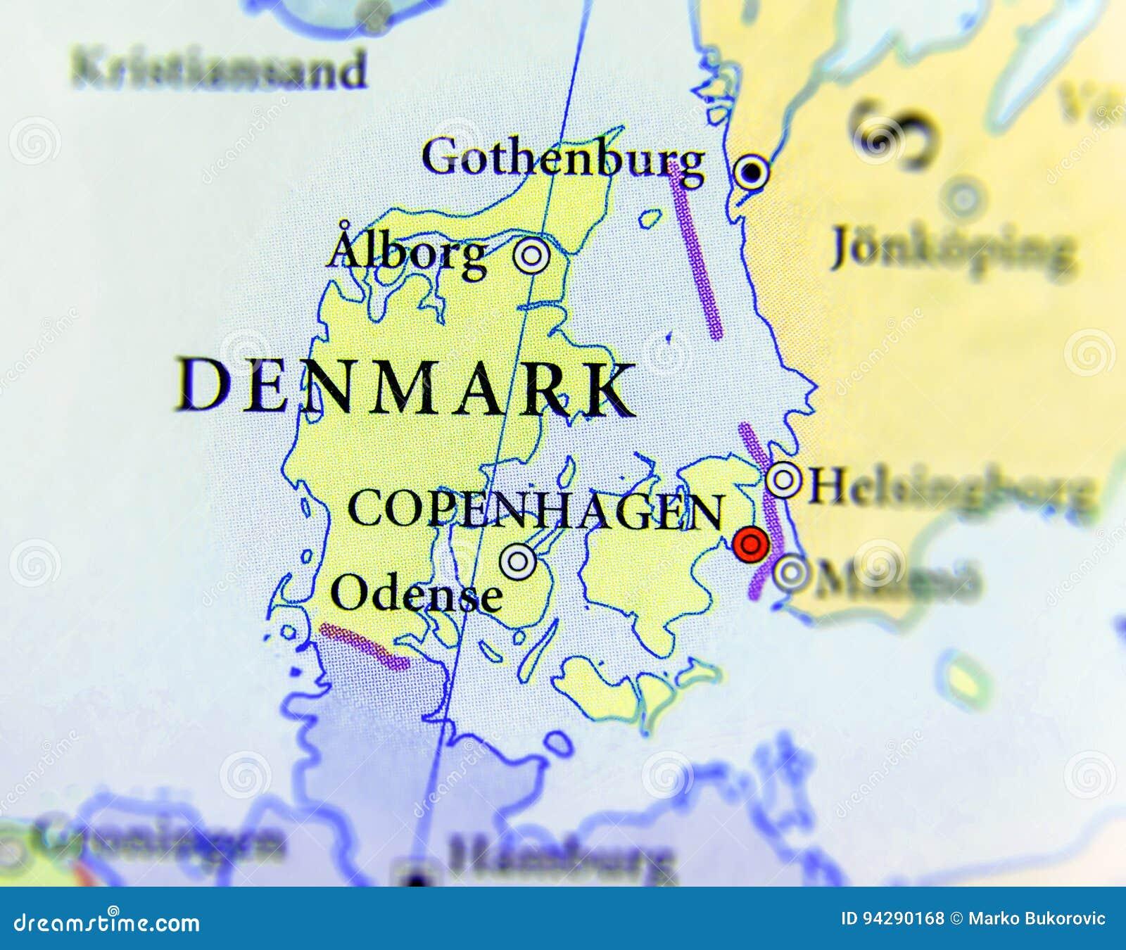 städer i danmark karta Geografisk översikt Av Det Europeiska Landet Danmark Med Viktiga  städer i danmark karta