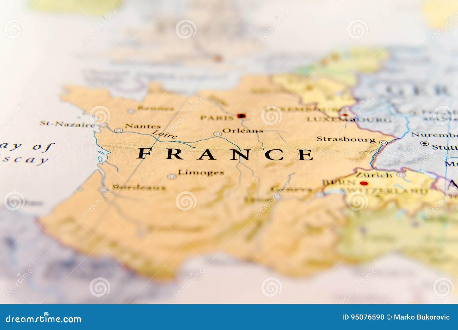Geografisk Oversikt Av Det Europeiska Landet Frankrike Med Viktiga Stader Arkivfoto Bild Av Cartography Cartographic 95076590