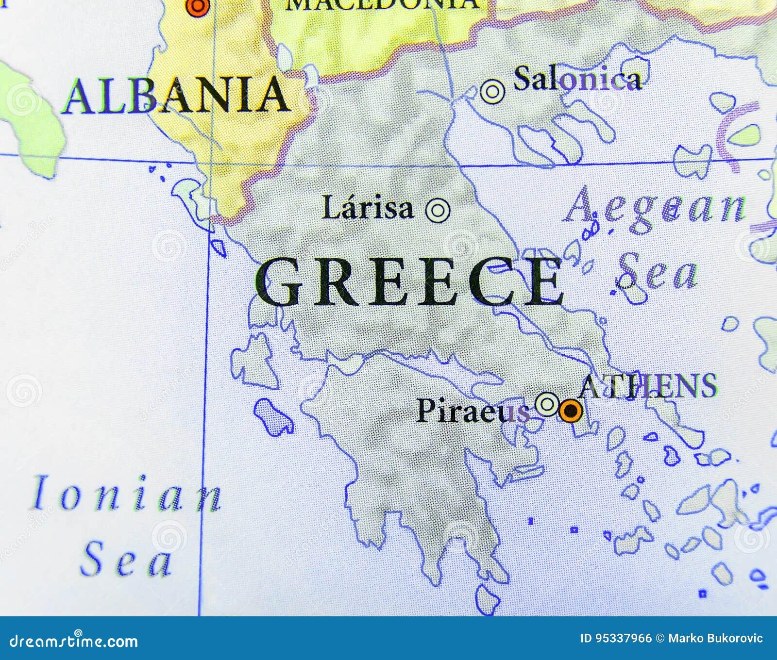 Geografisk översikt av det europeiska landet Grekland med viktiga städer