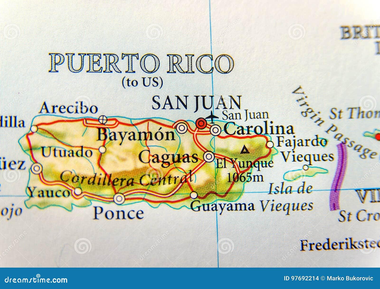 Geografisk översikt av Puerto Rico med huvudstad San Juan