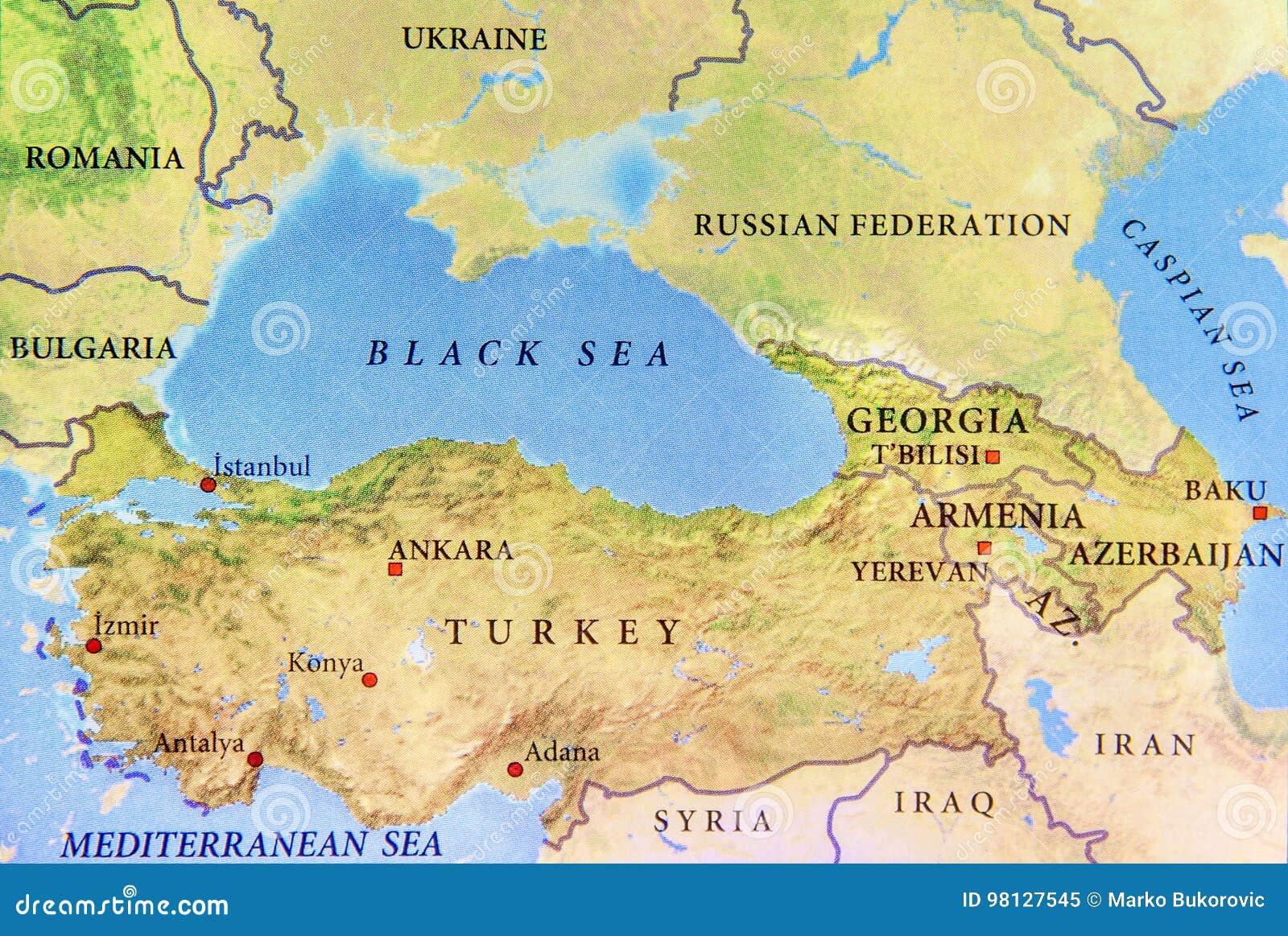 Karta Europa Turkiet.Geografisk Oversikt Av Turkiet Med Viktiga Stader Och Black Sea