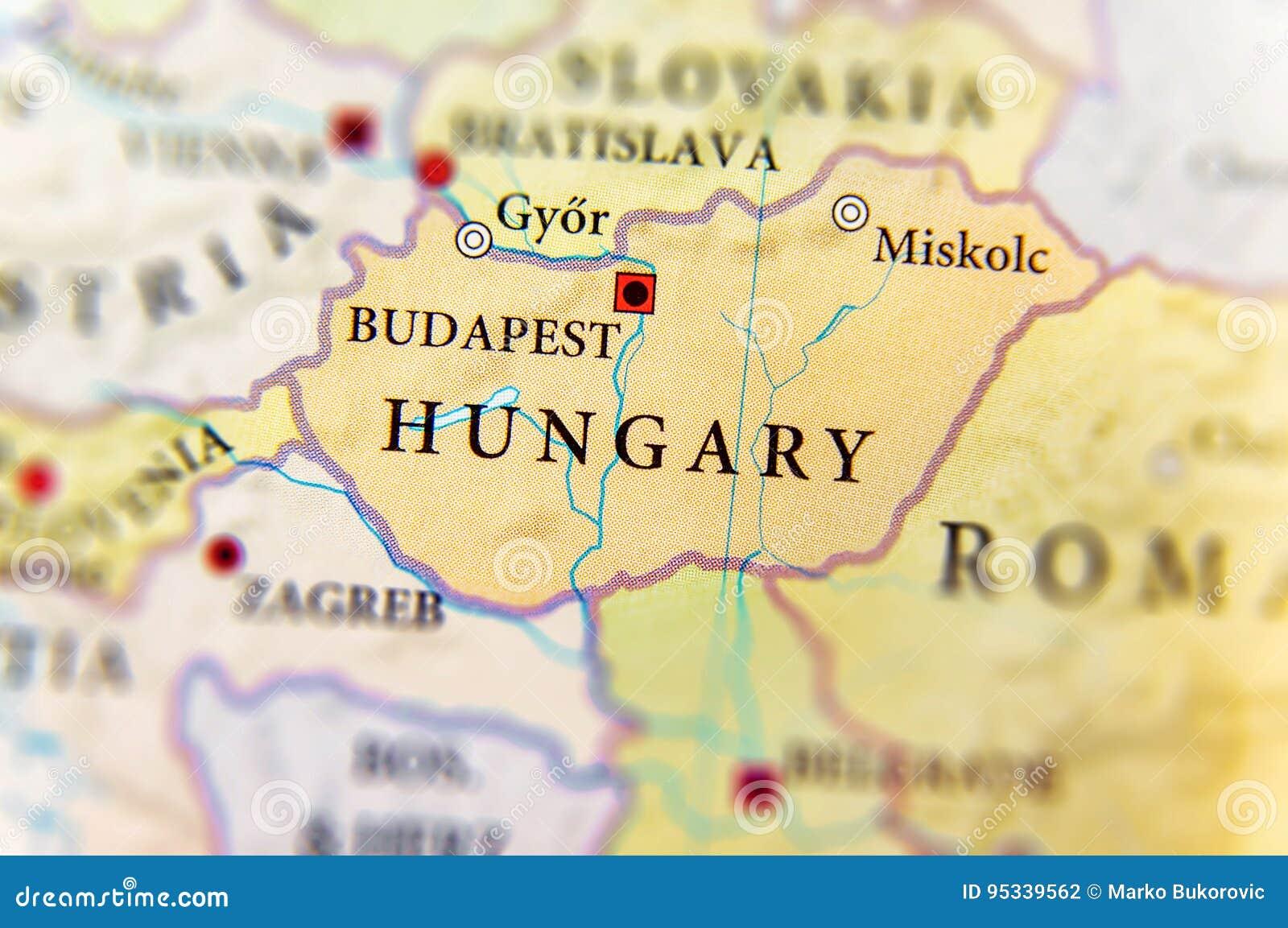 Geografisk översikt av Ungern för europeiskt land med viktiga städer