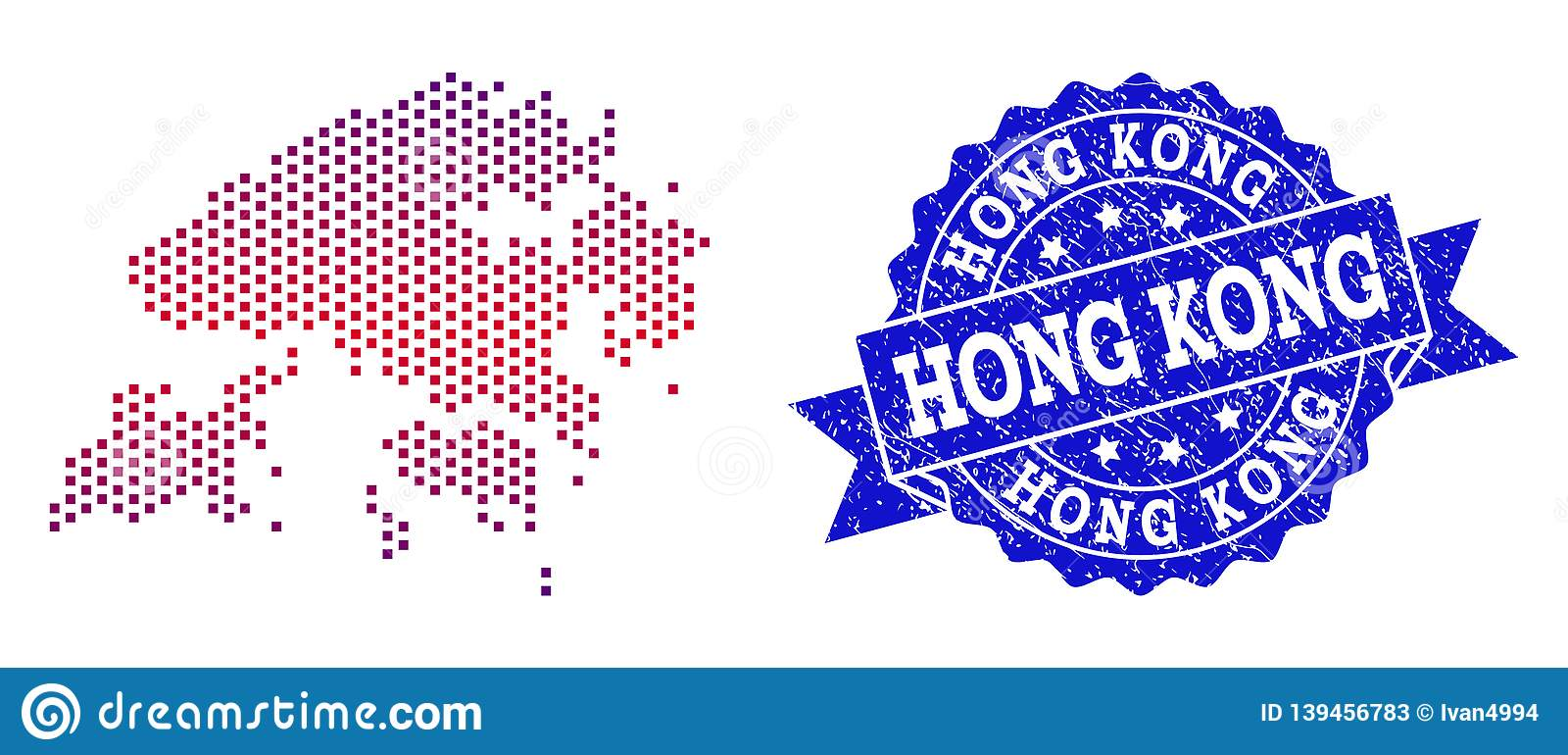 Composition of Gradiented Dotted Map of Hong Kong and Grunged Stamp