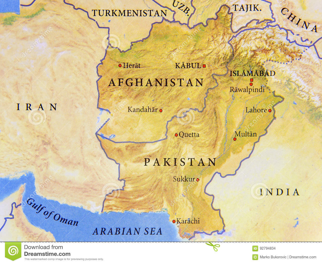 Map Of Afghanistan And Pakistan Geographic Map Of Afghanistan And Pakistan With Important Cities