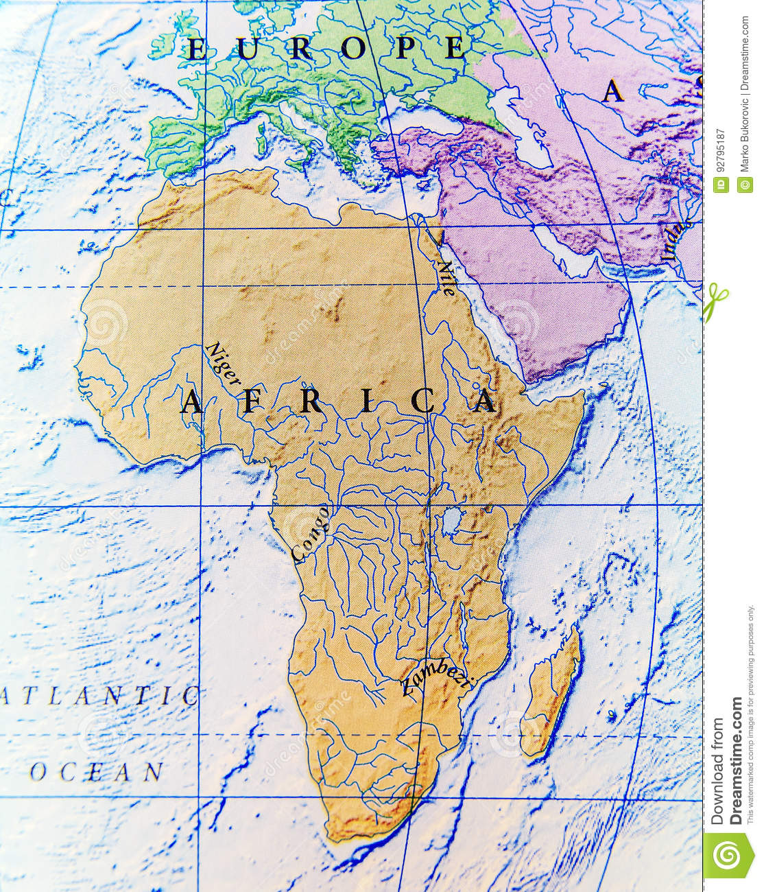 Africa Map Geography.Geographic Map Of Africa Close Stock Image Image Of Geography
