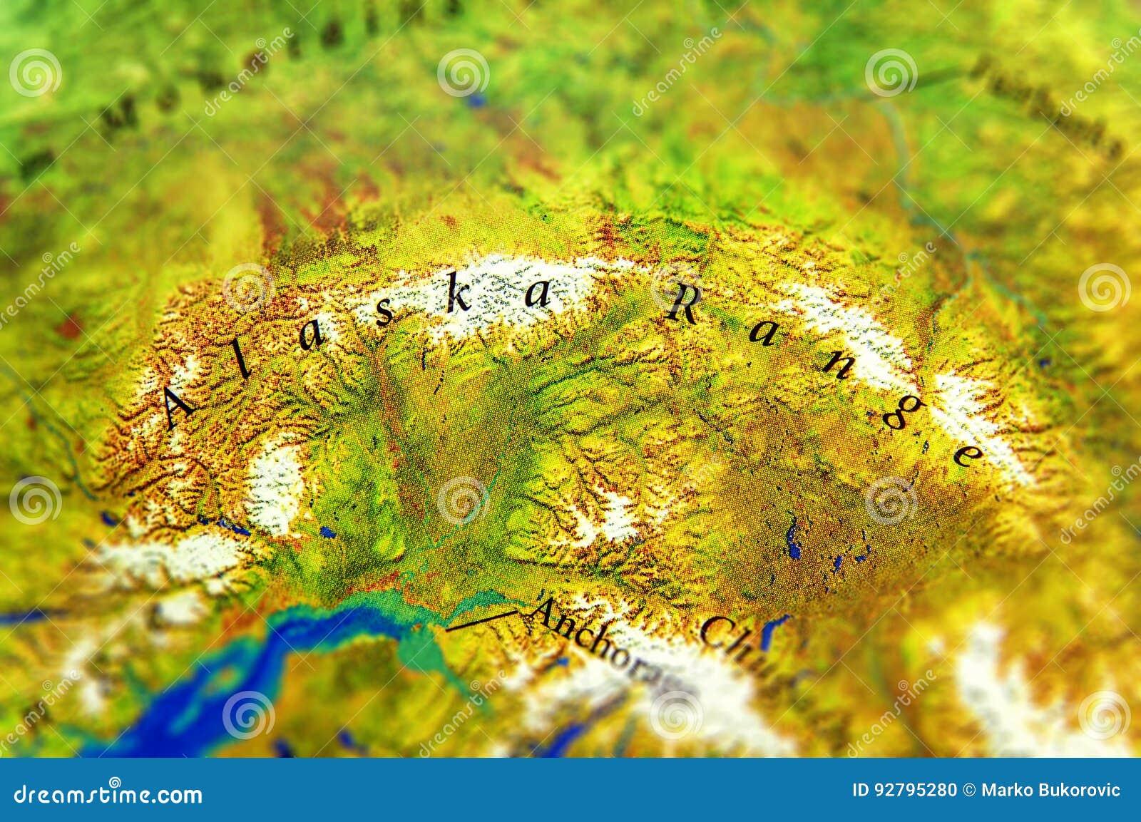 Geographic Map Of Alaska Range In Us Alaska Country Stock Photo