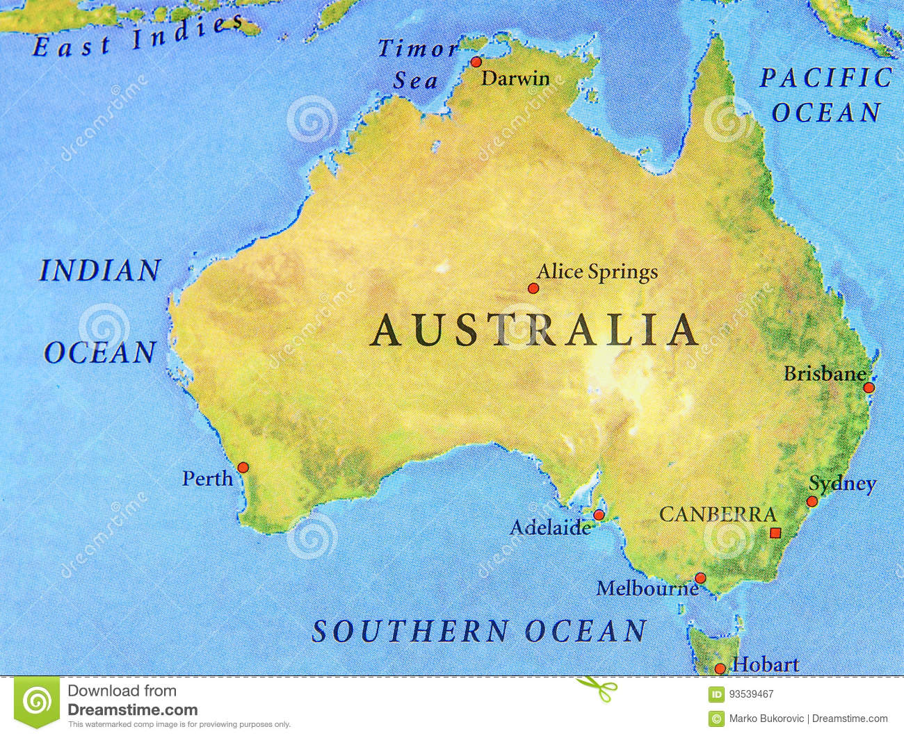Geographic Map Of Australia With Important Cities Stock ...