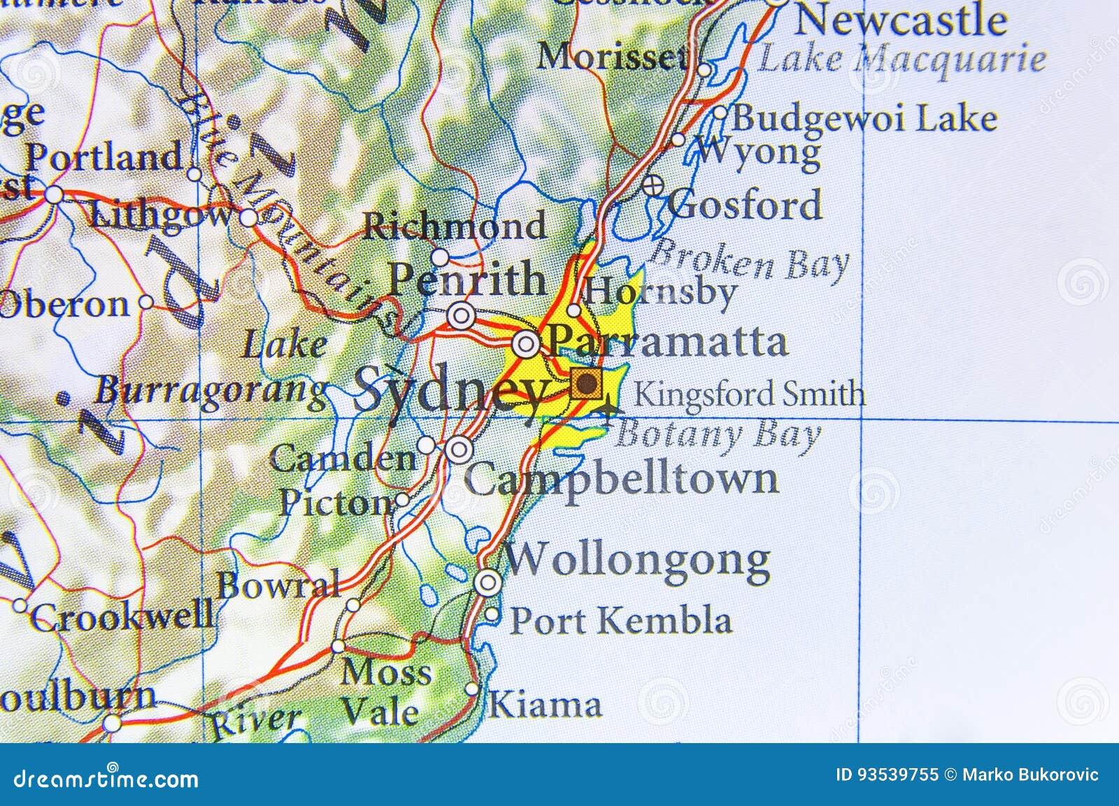 Map Of Australia Sydney.Geographic Map Of Australia With Sydney City Stock Image Image Of