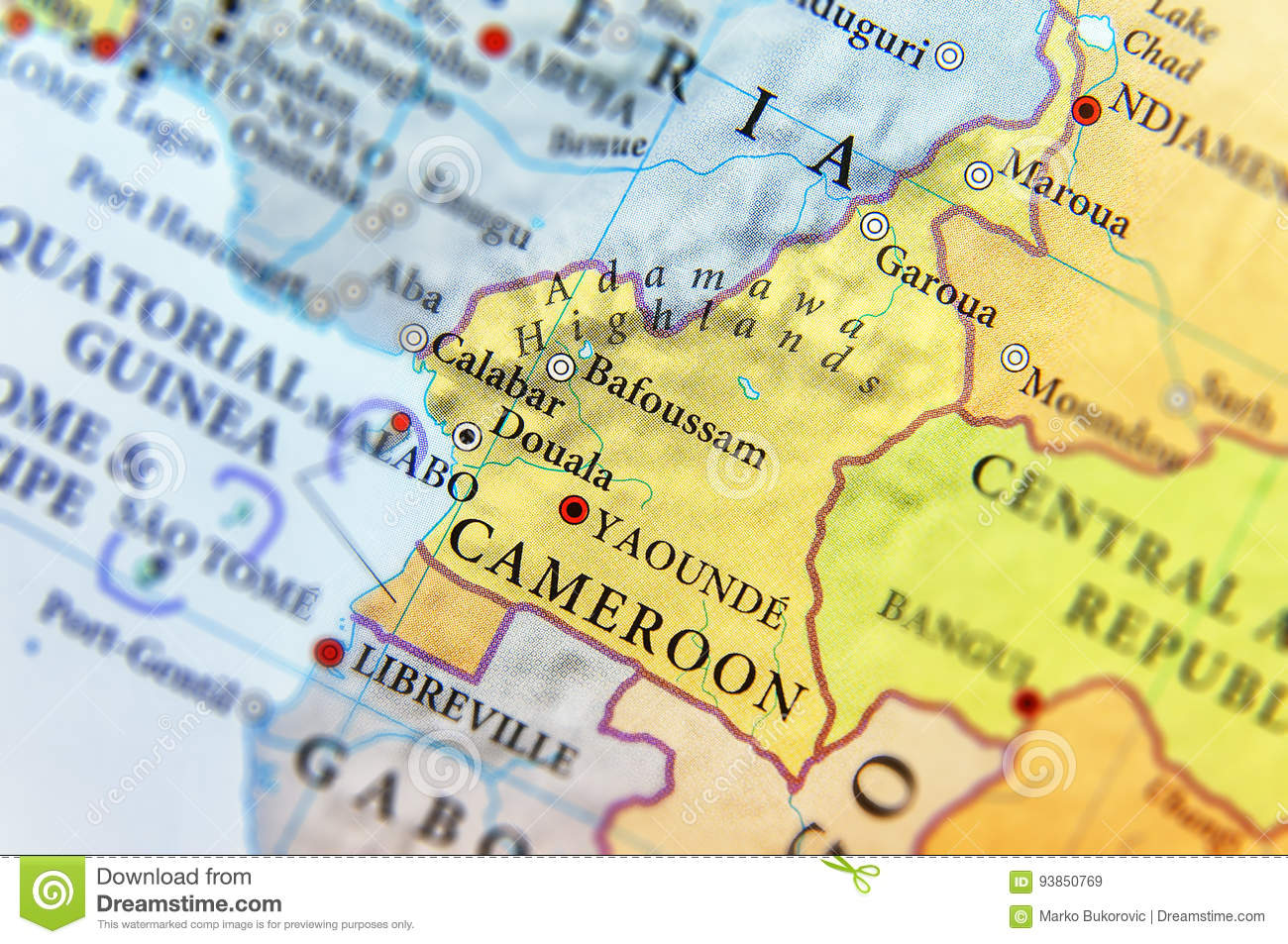 Geographic map of cameroon country with important cities stock image royalty free stock photo ccuart Image collections
