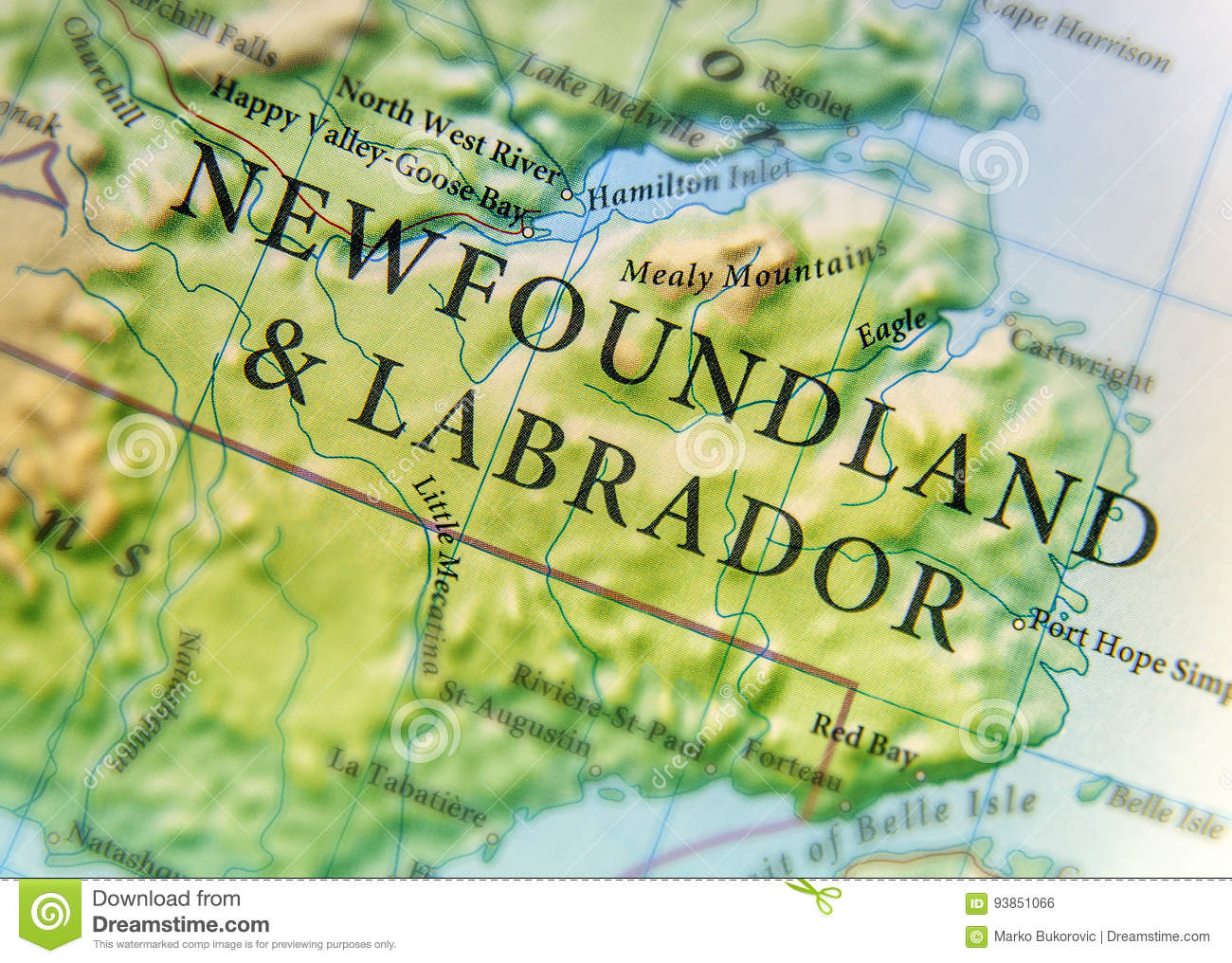 Map Of Canada Newfoundland.Geographic Map Of Canada Country And Newfoundland Labrador With