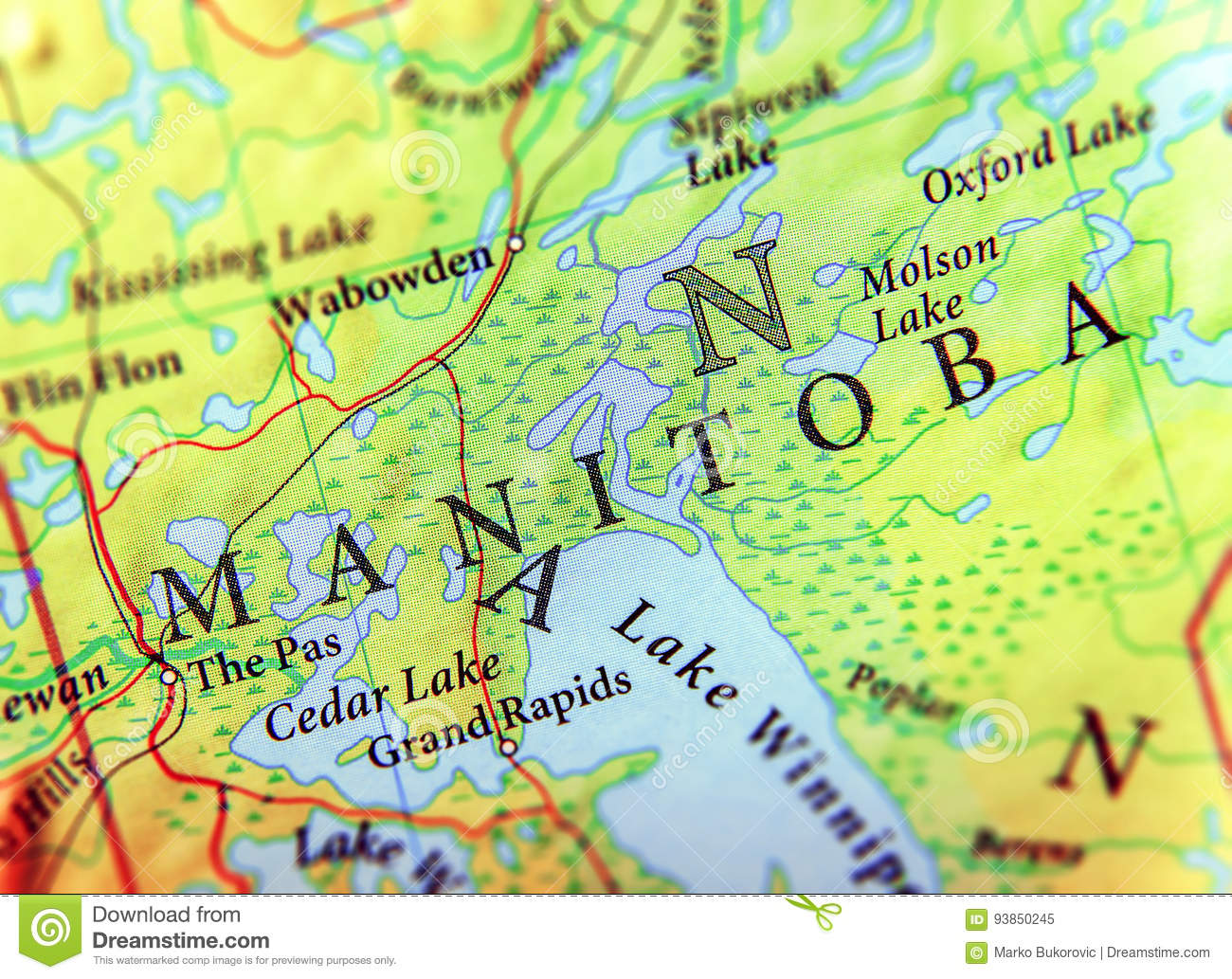 Map Of Canada With Cities And States.Geographic Map Of Canada State Manitoba With Important Cities Stock