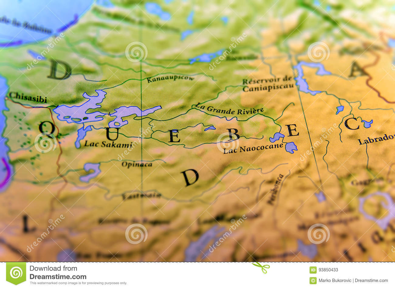 Quebec On Map Of Canada.Geographic Map Of Canada State Quebec With Important Cities Stock