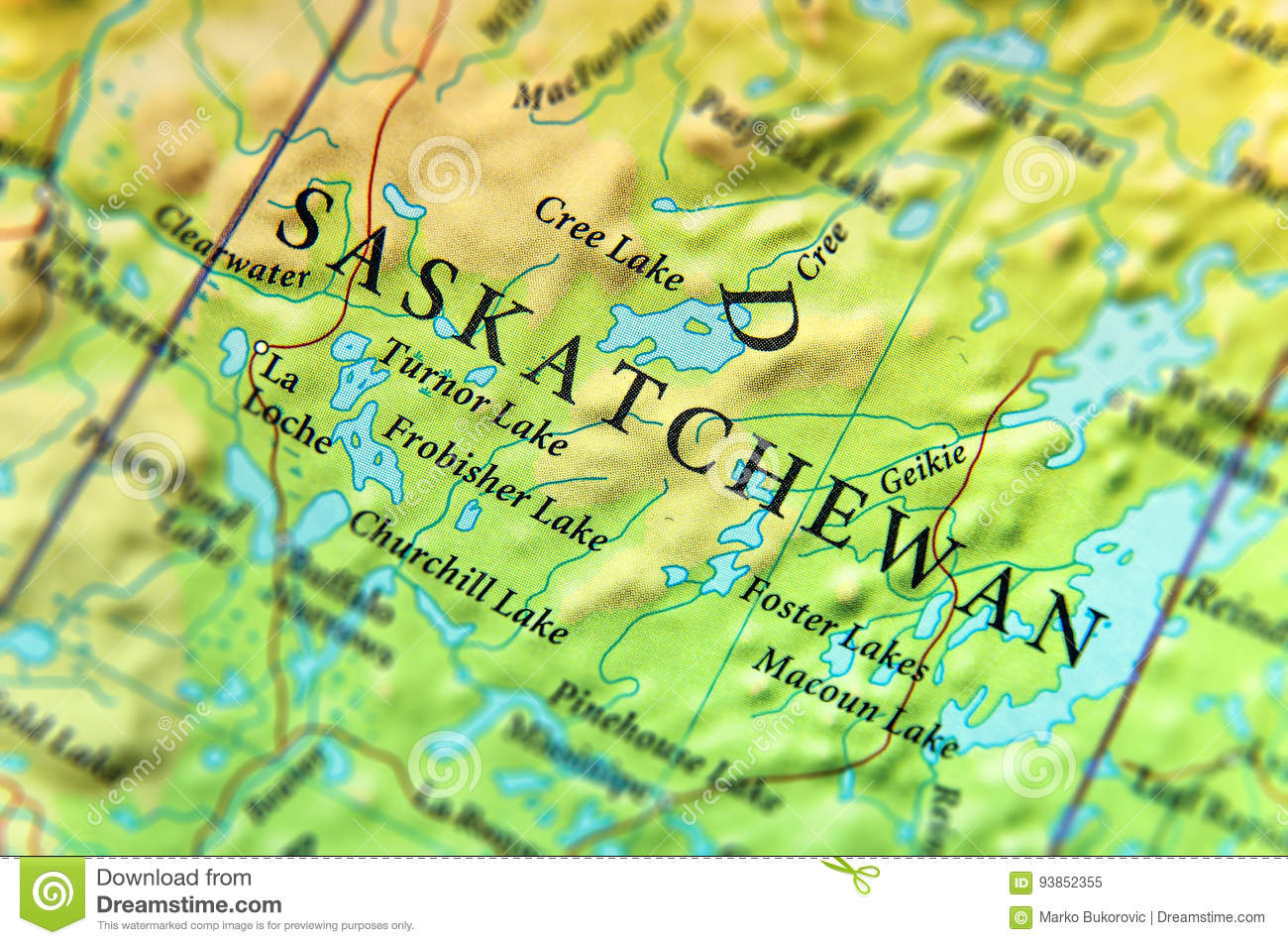 Map Of Canada With Cities And States.Geographic Map Of Canada State Saskatchewan With Important Cities