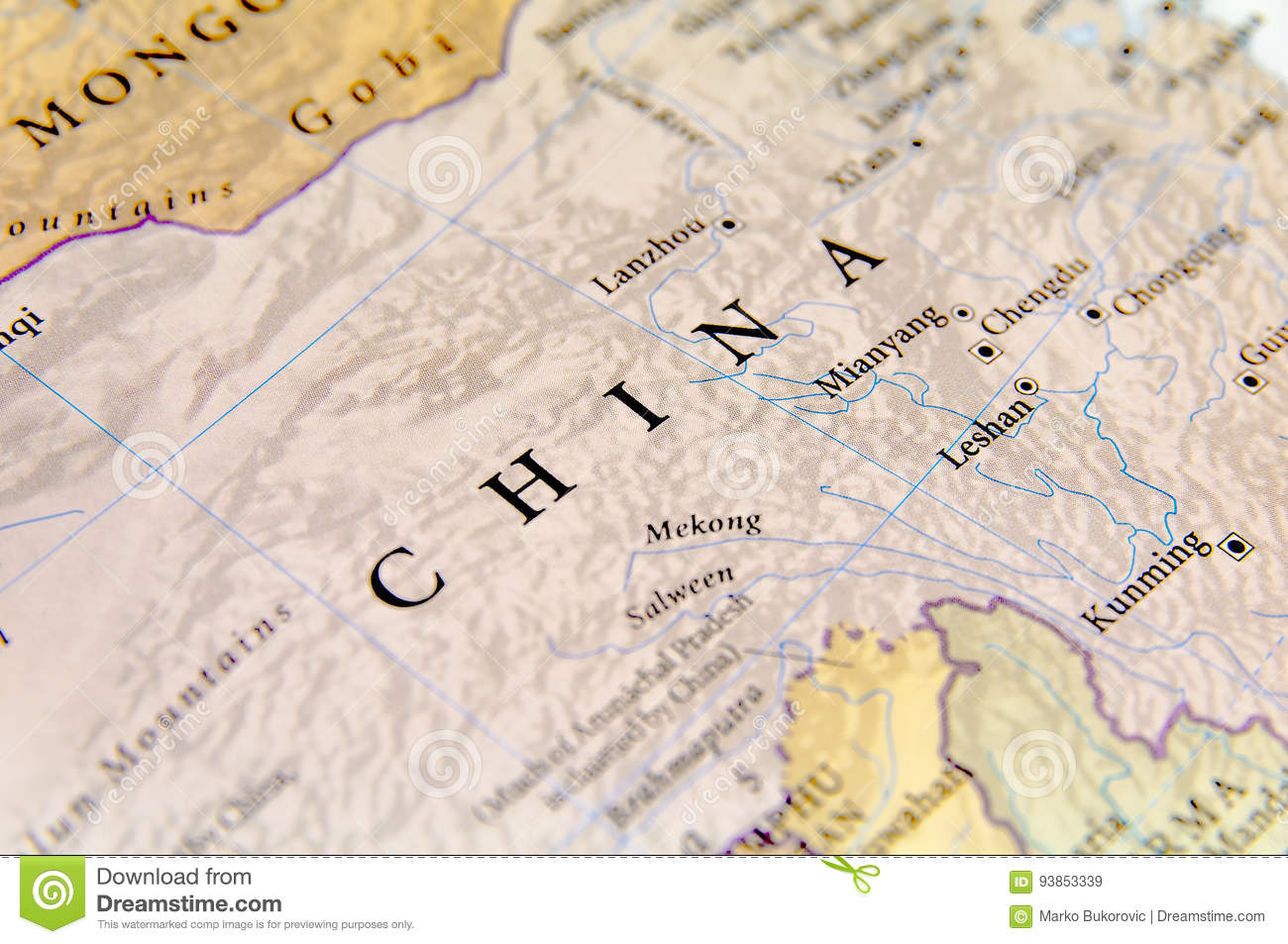 Geographic Map Of China With Important Cities Stock Image Image Of