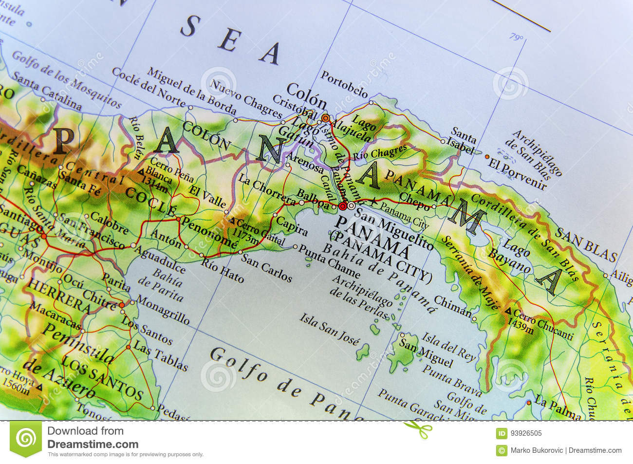 Geographic Map Of Country Panama And Panama City Stock Image - Image ...