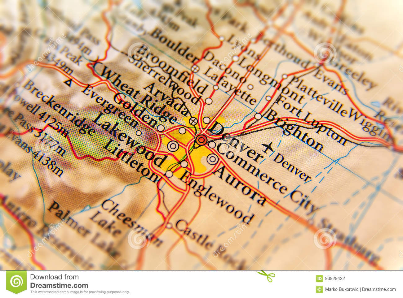 Geographic Map Of Denver City Close Stock Photo - Image of state ...