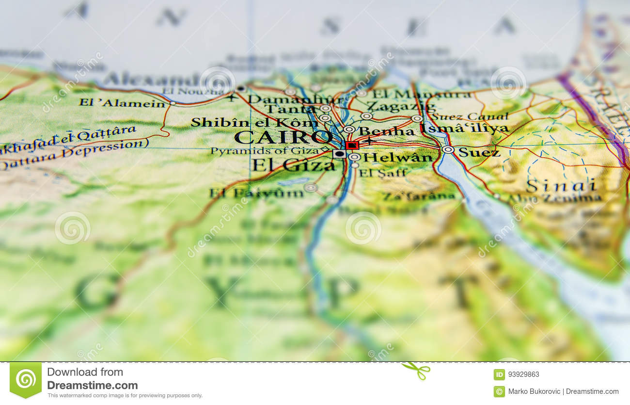 Geographic Map Of Egypt With Capital City Cairo Stock Image - Image on