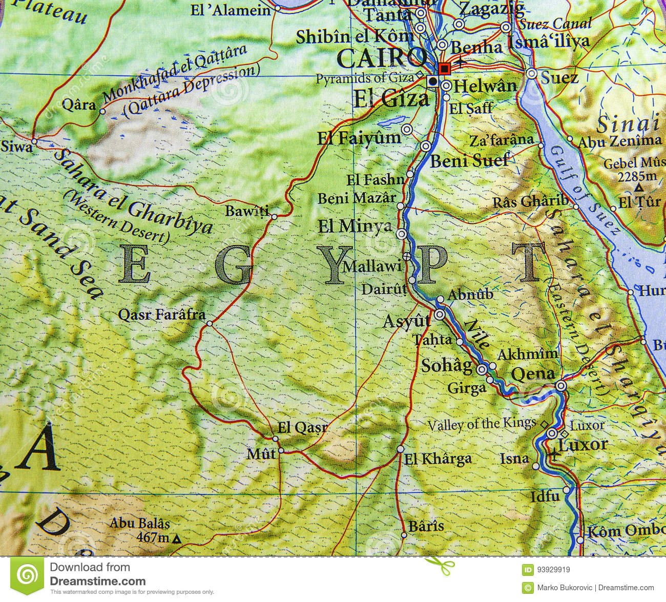 Geographic Map Of Egypt With Important Cities Stock Photo Image - Map of egypt with cities
