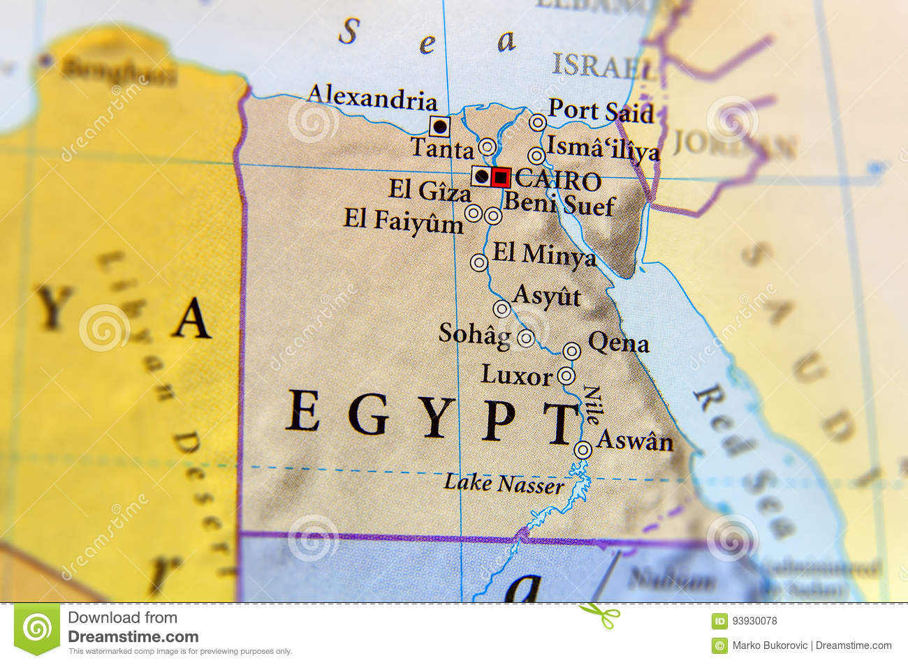 Geographic Map Of Egypt With Important Cities Stock Photo - Image of ...